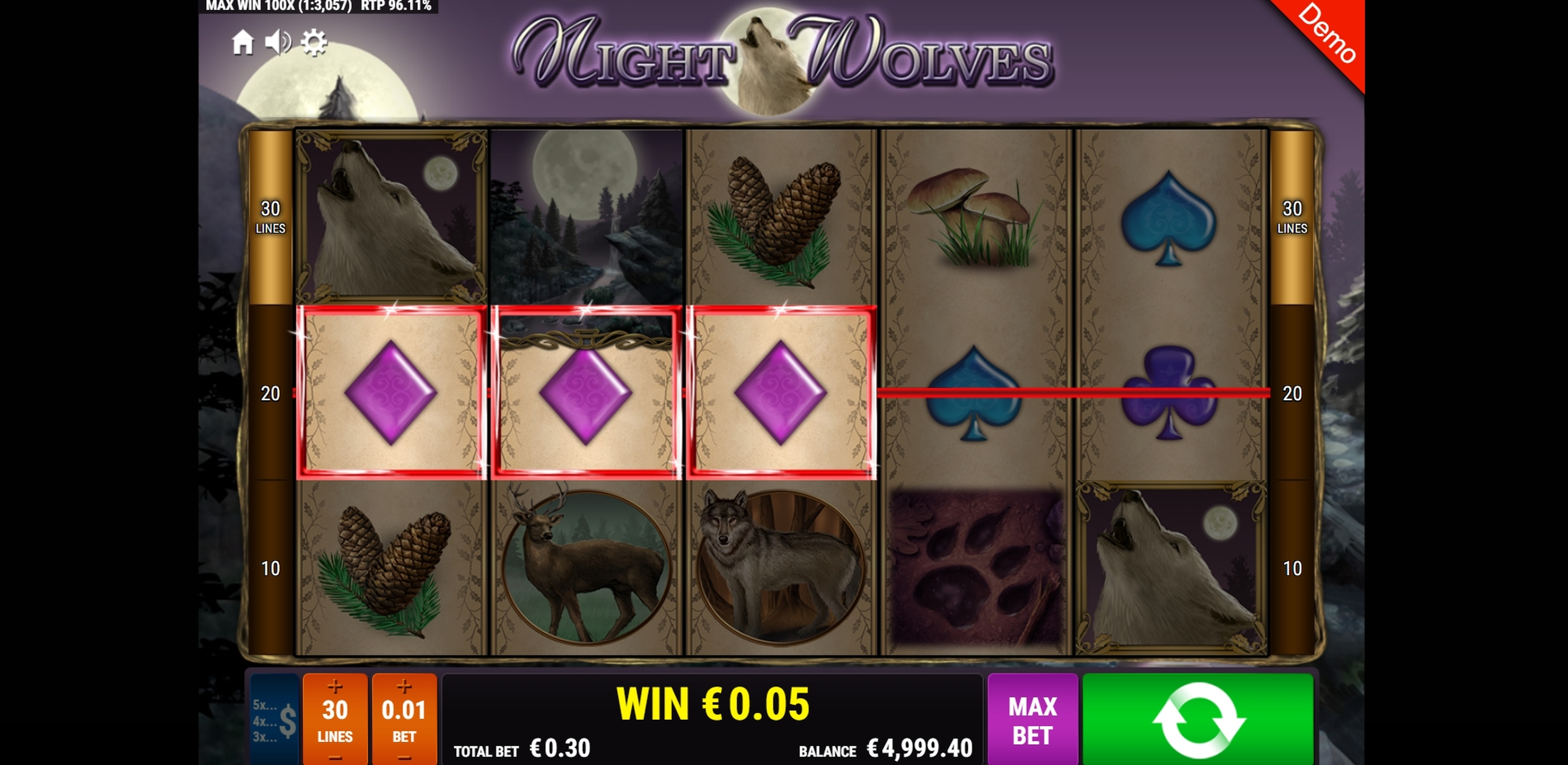 Win Money in Night Wolves Free Slot Game by Gamomat