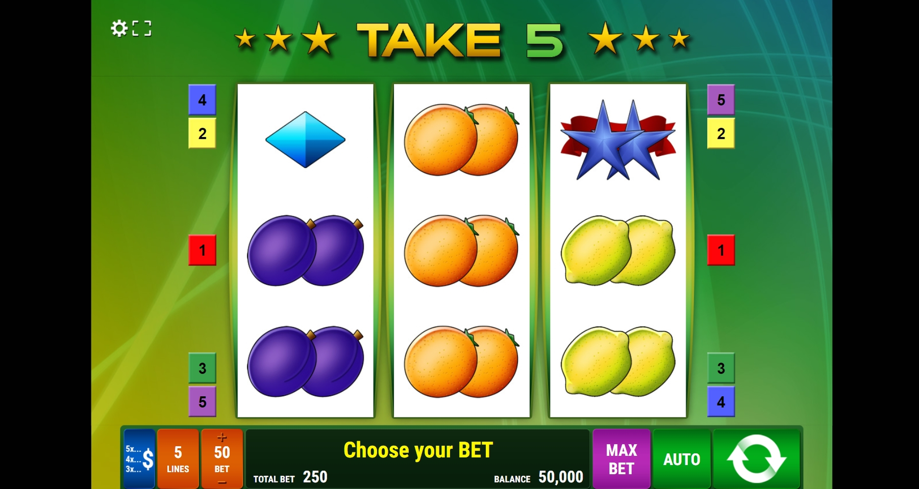 Reels in Take 5 Slot Game by Gamomat