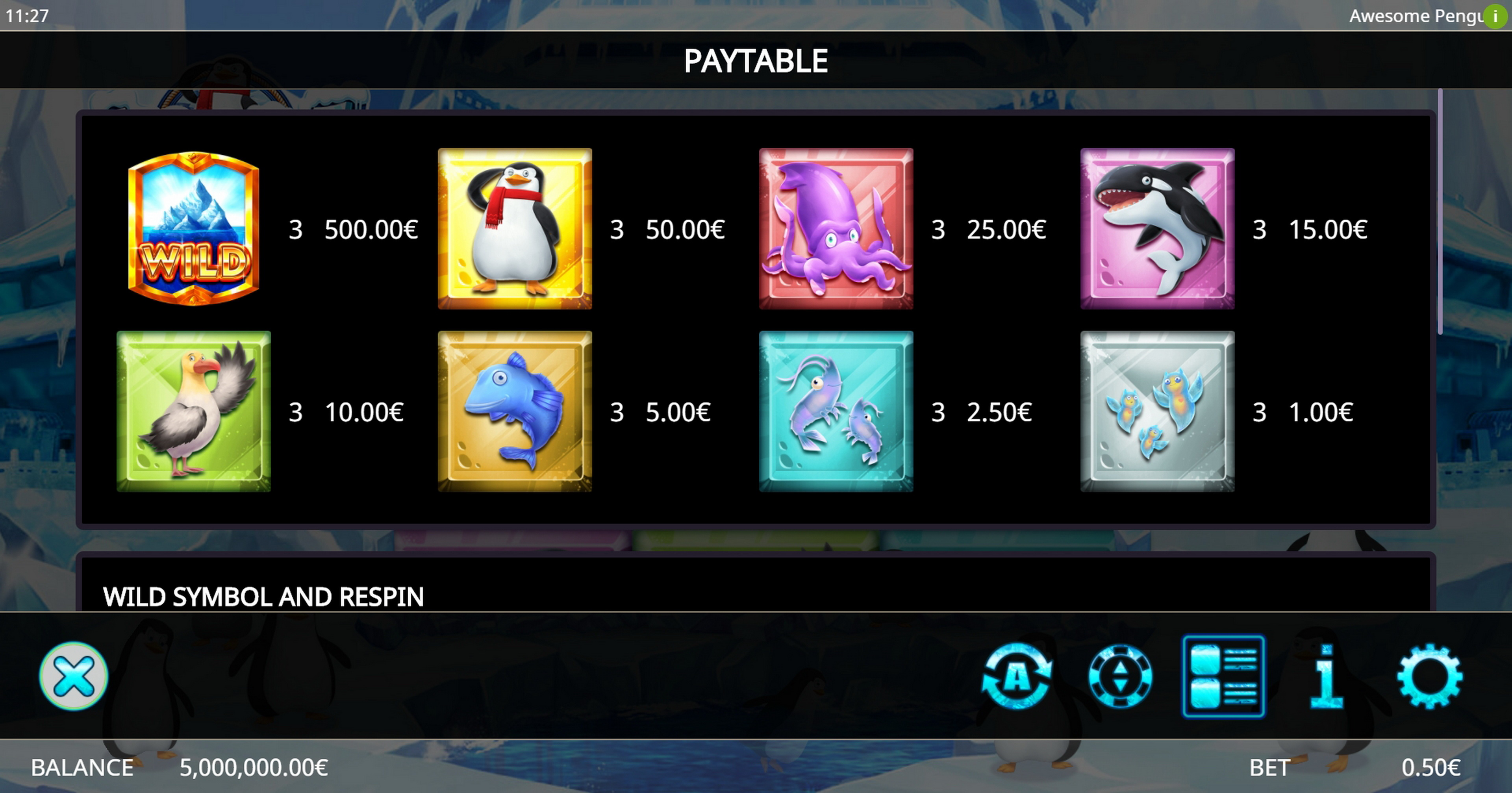 Info of Awesome Penguin Slot Game by Ganapati