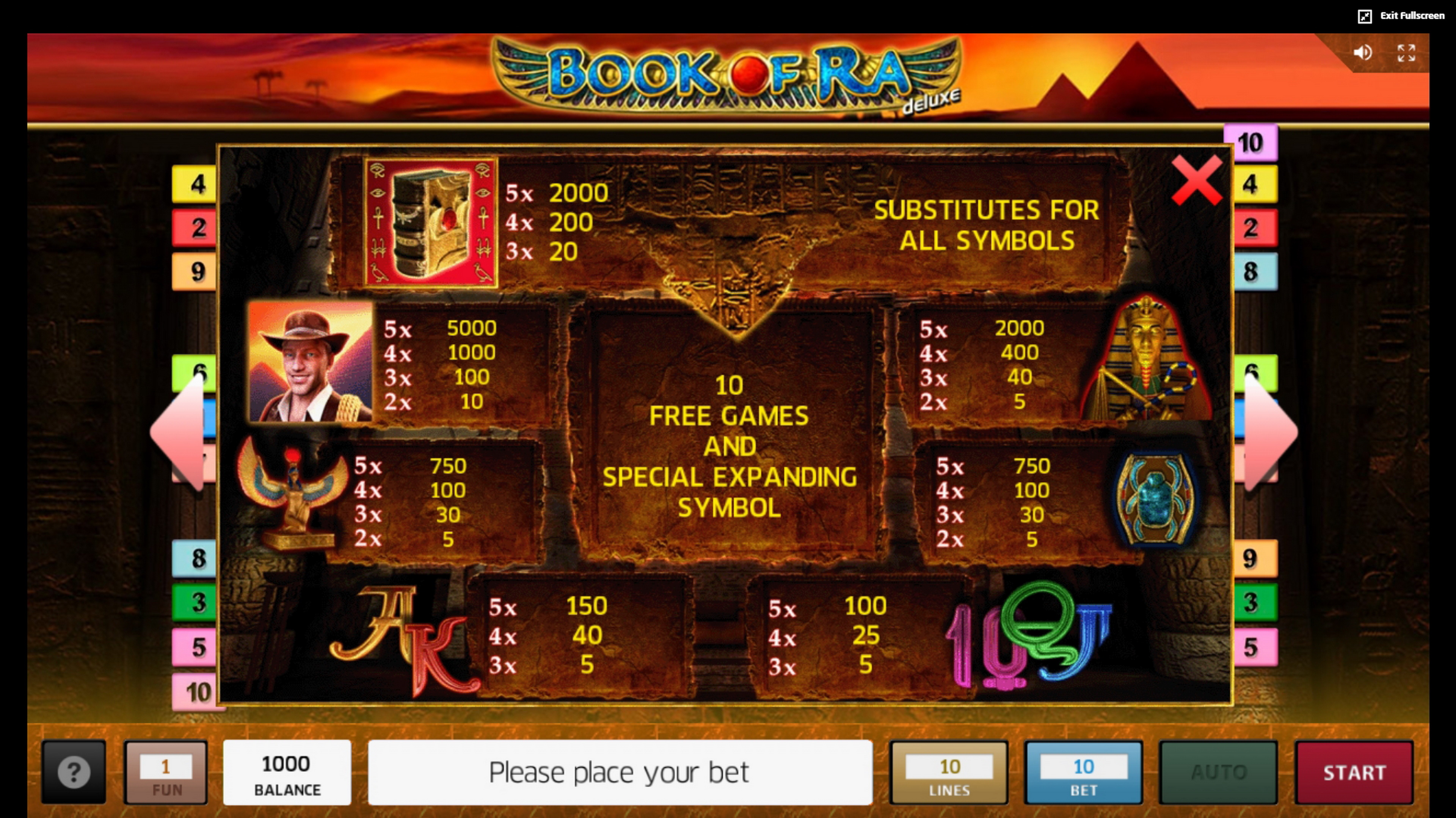 Info of Book of Ra deluxe Slot Game by Greentube