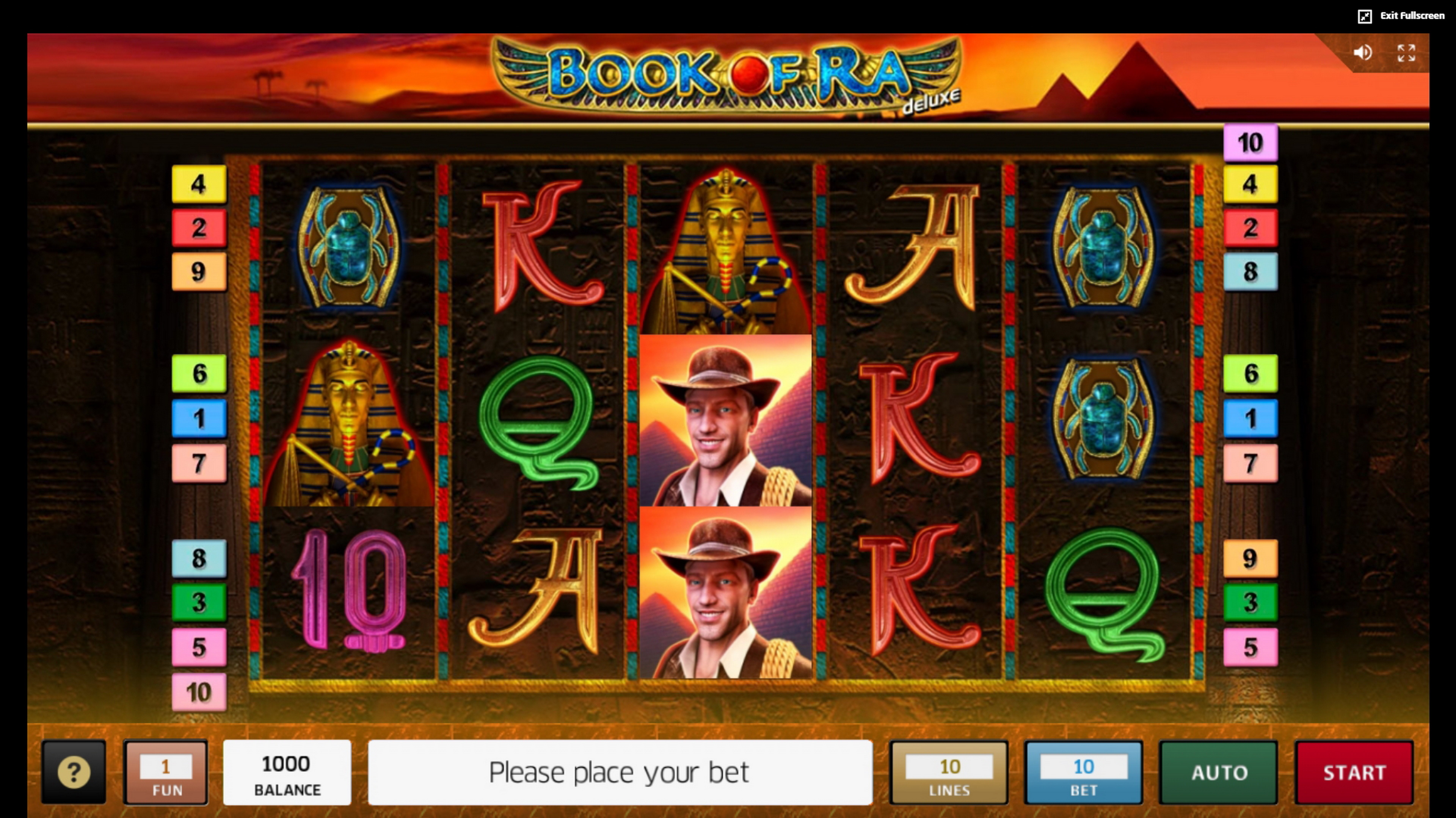 Reels in Book of Ra deluxe Slot Game by Greentube