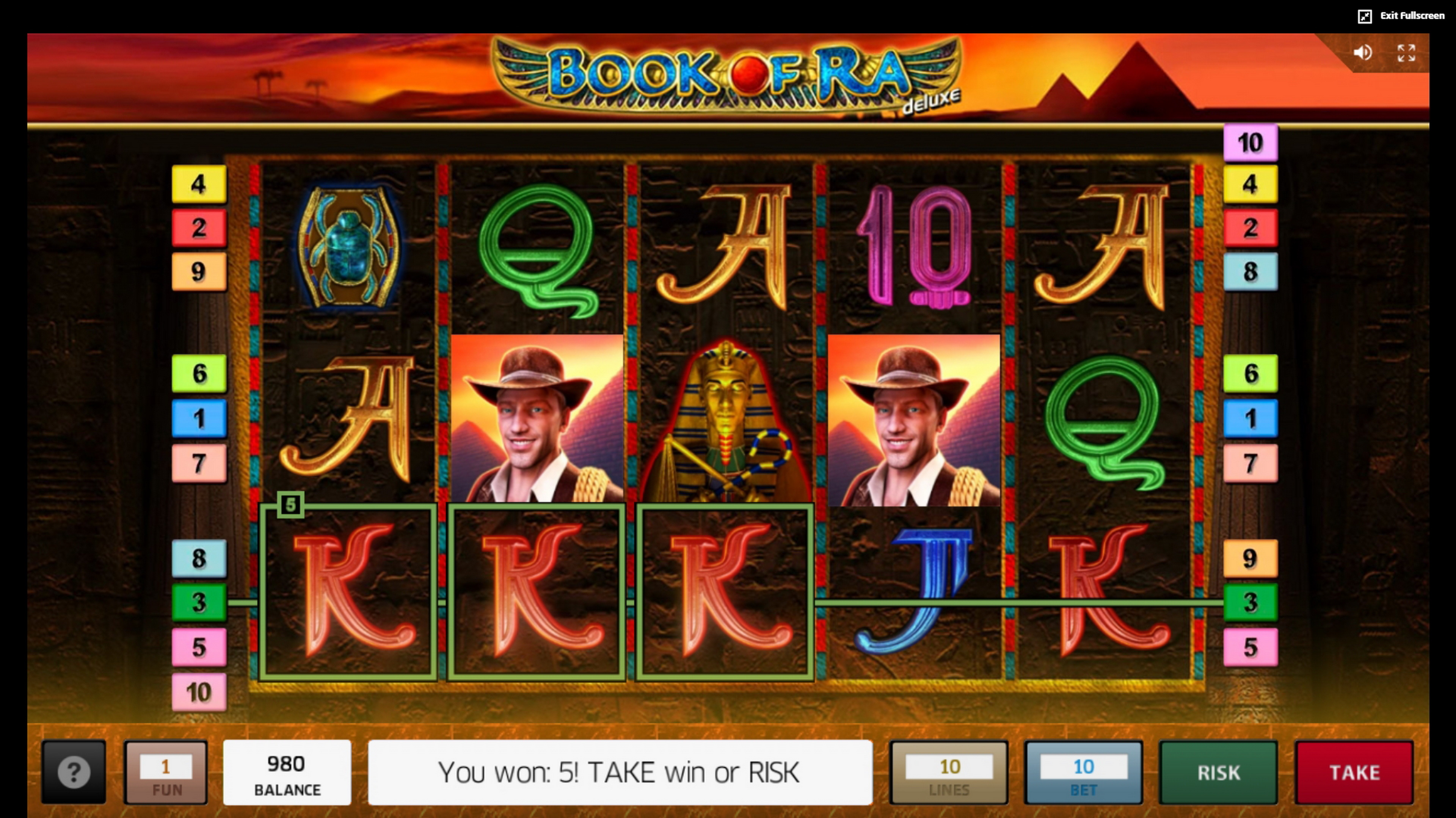Win Money in Book of Ra deluxe Free Slot Game by Greentube