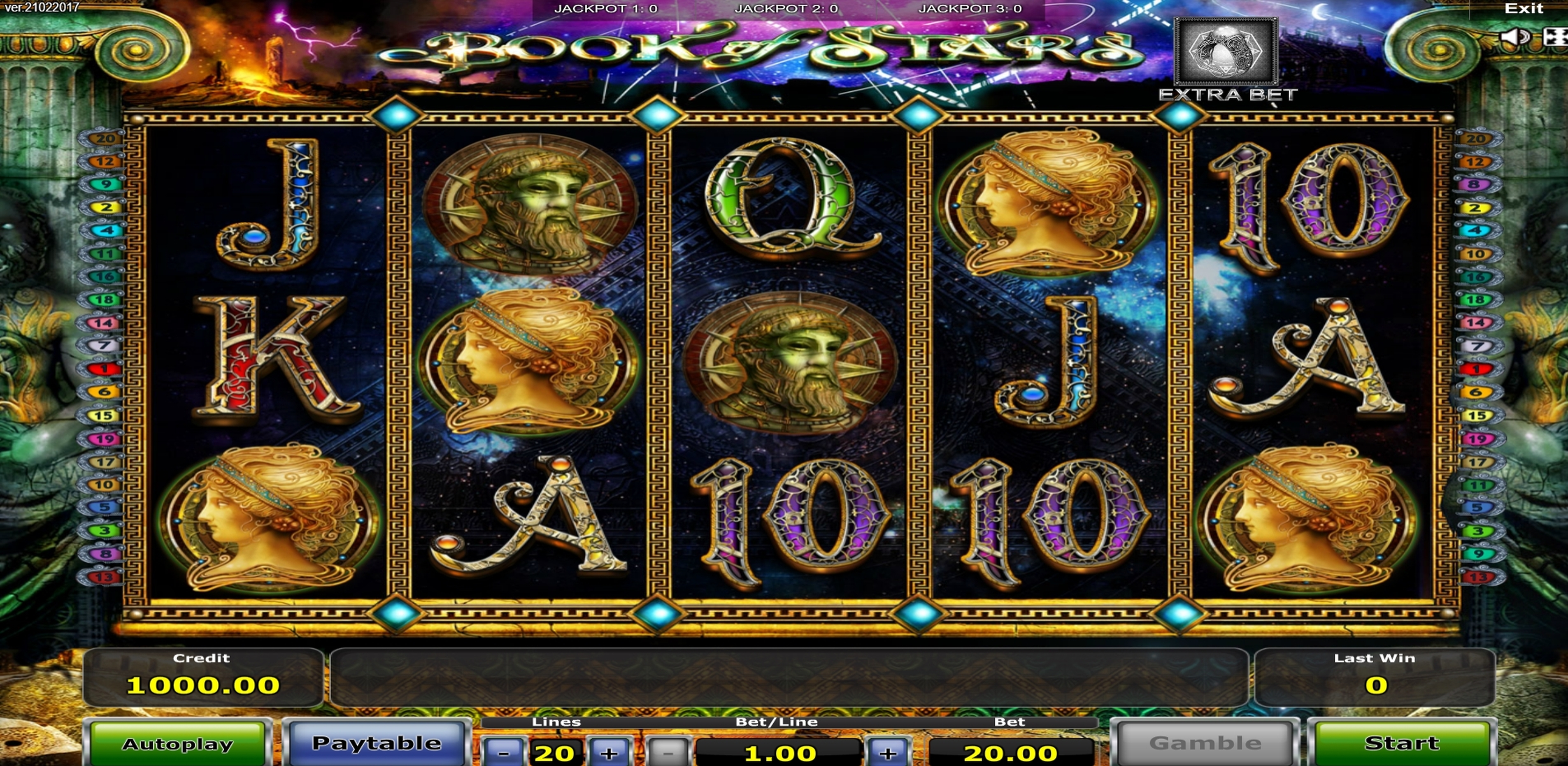 Reels in Book of Stars Slot Game by Greentube