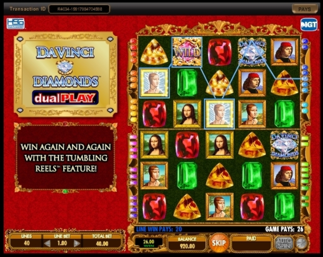 Win Money in Da Vinci Diamonds Dual Play Free Slot Game by IGT