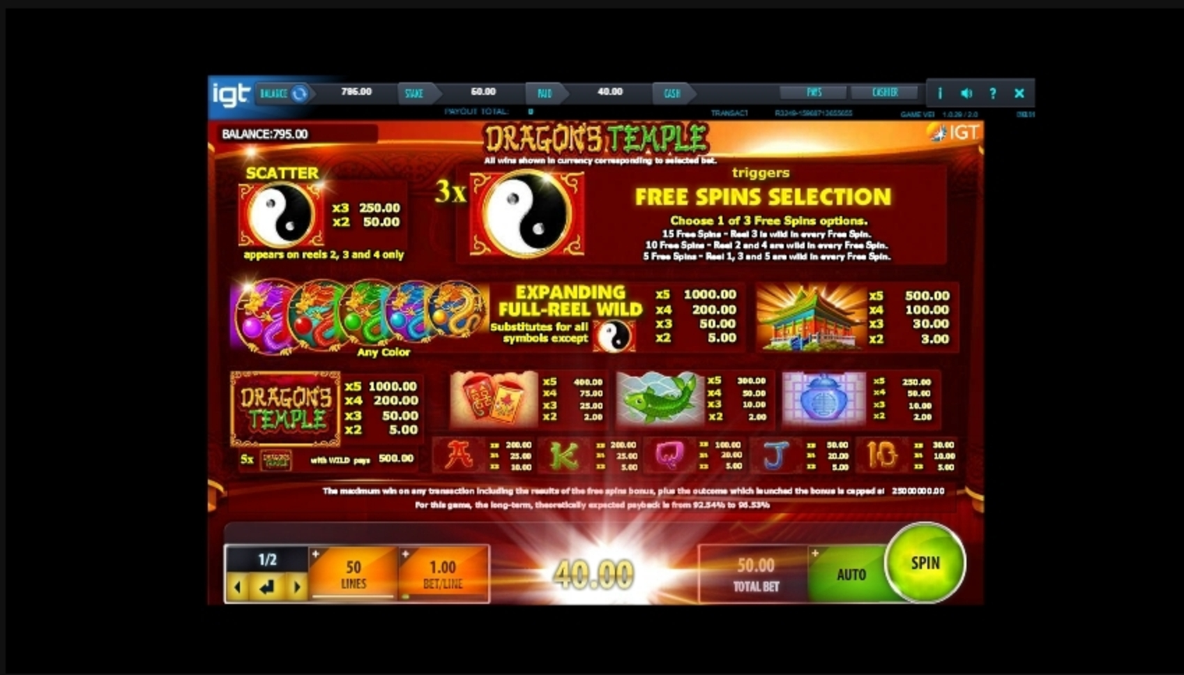 Info of Dragon's Temple Slot Game by IGT
