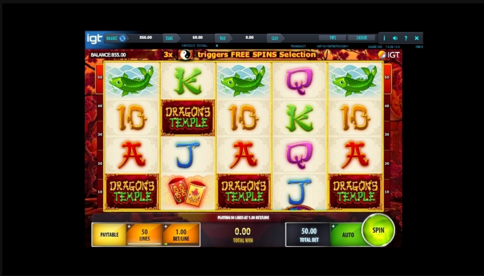 Reels in Dragon's Temple Slot Game by IGT