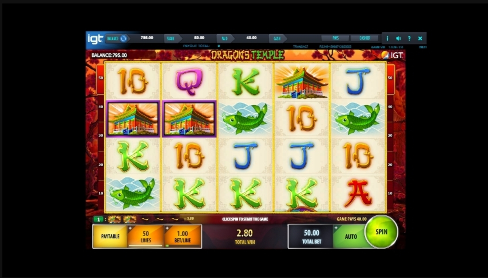 Win Money in Dragon's Temple Free Slot Game by IGT