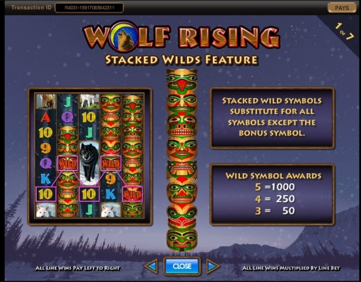 Info of Wolf Rising Slot Game by IGT