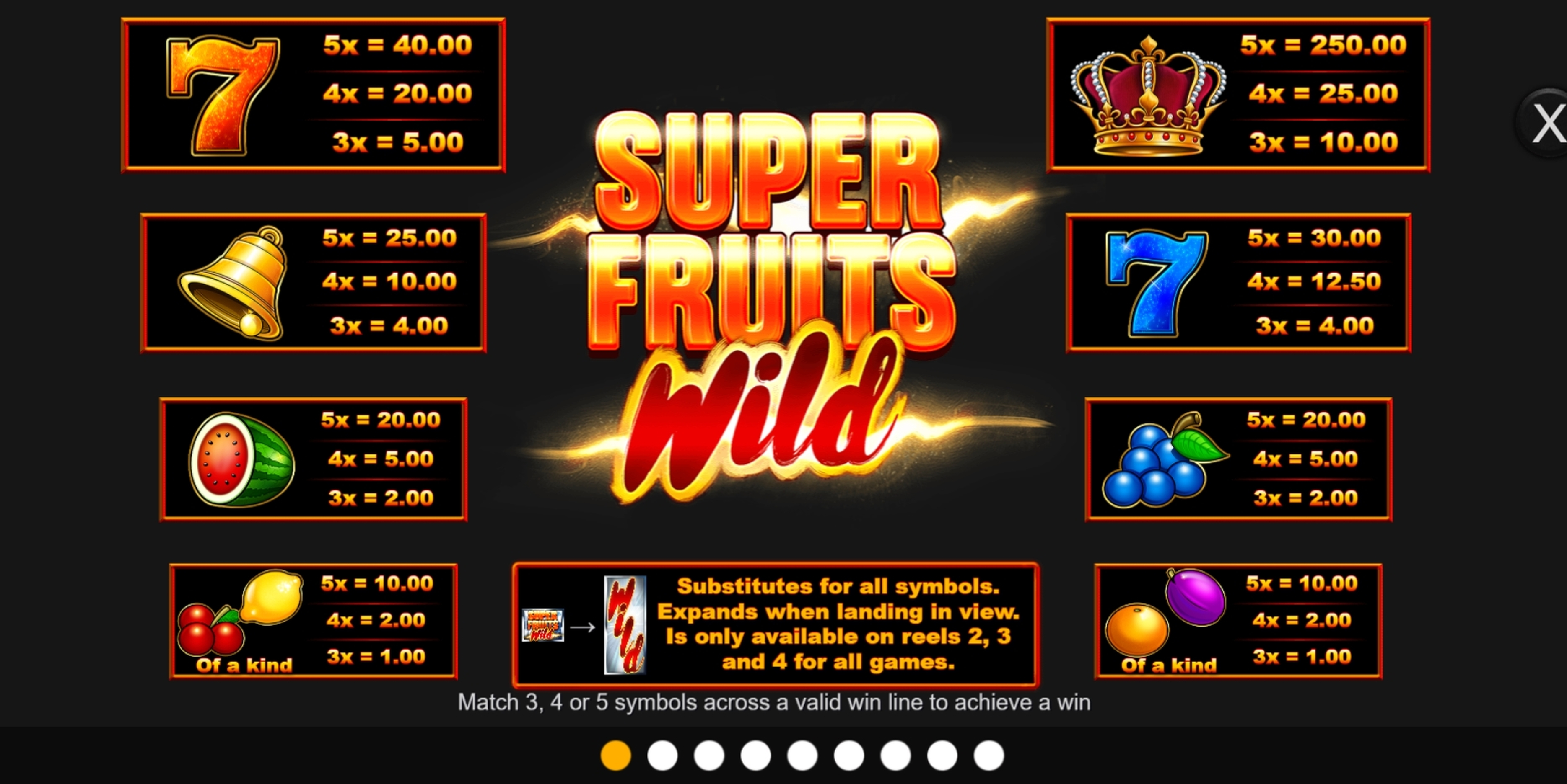 Info of Super Fruits Wild Slot Game by Inspired Gaming