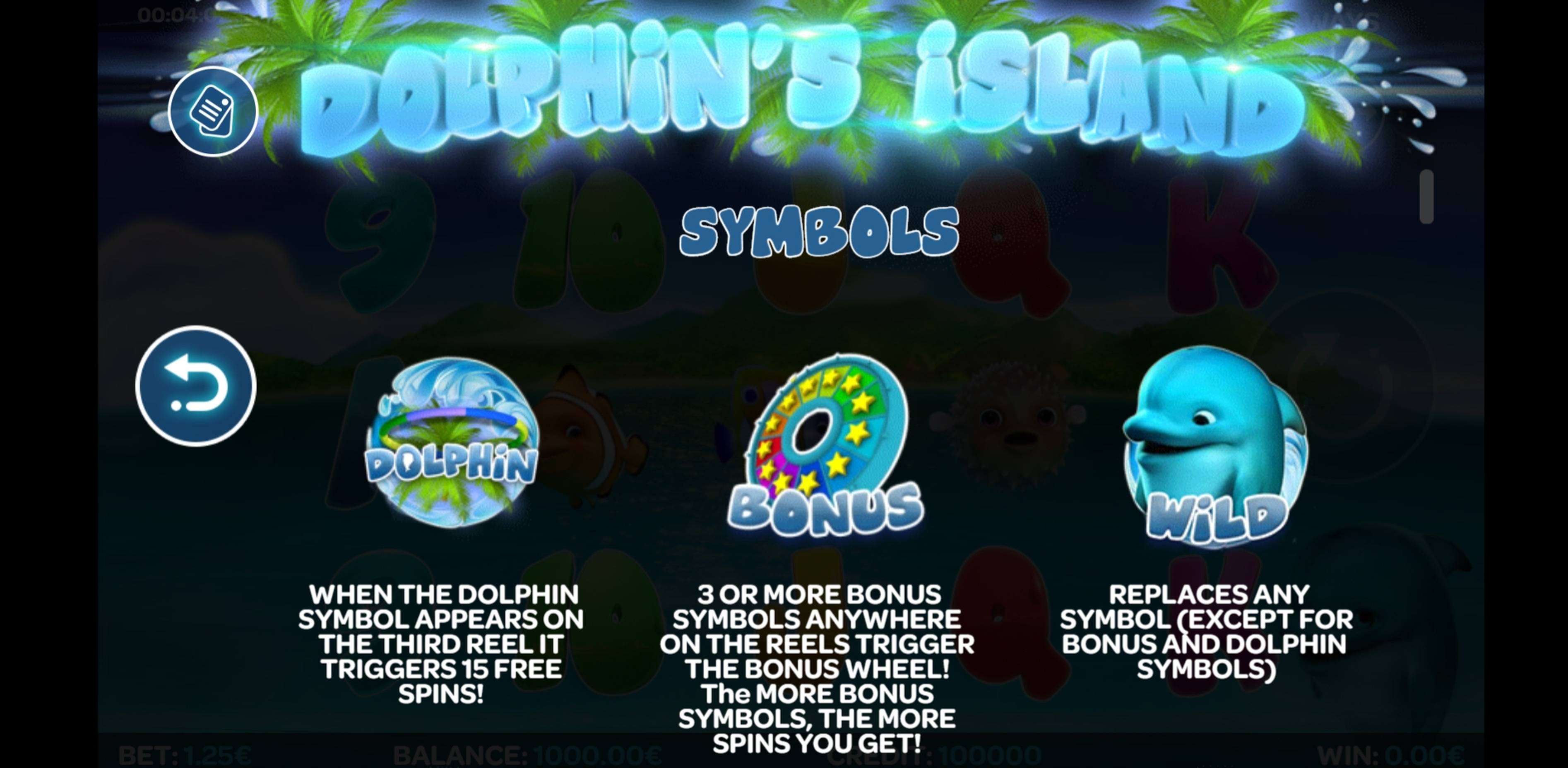 Info of Dolphin's Island Slot Game by iSoftBet