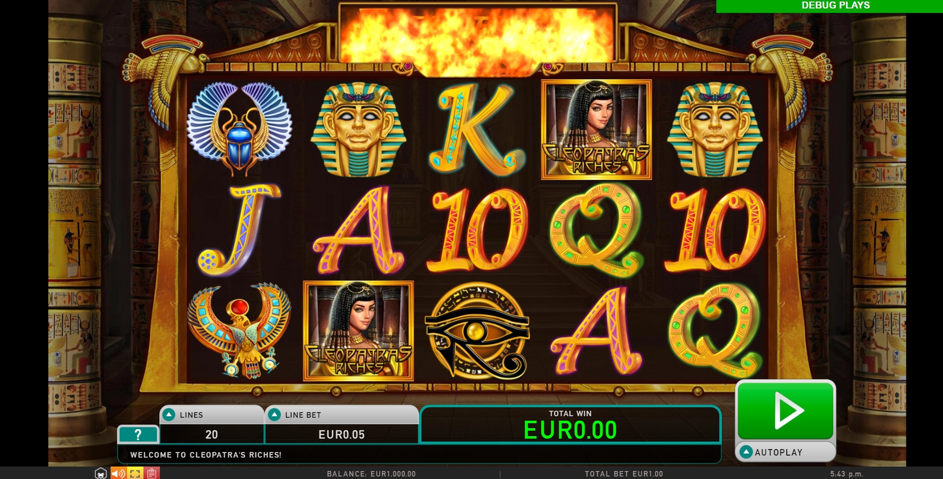 Reels in Cleopatras Riches Slot Game by Leander Games