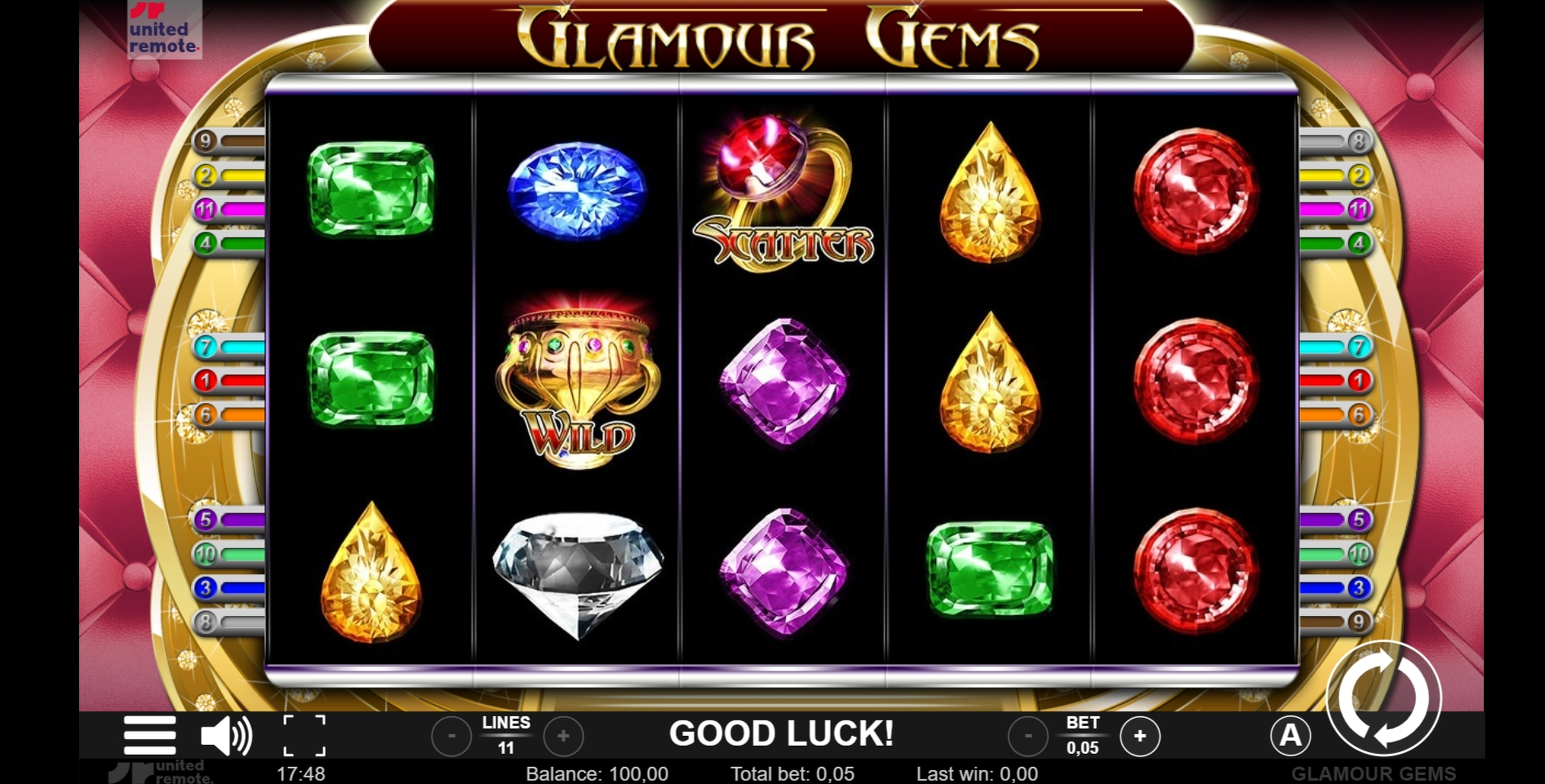 Reels in Glamour Gems Slot Game by Lionline