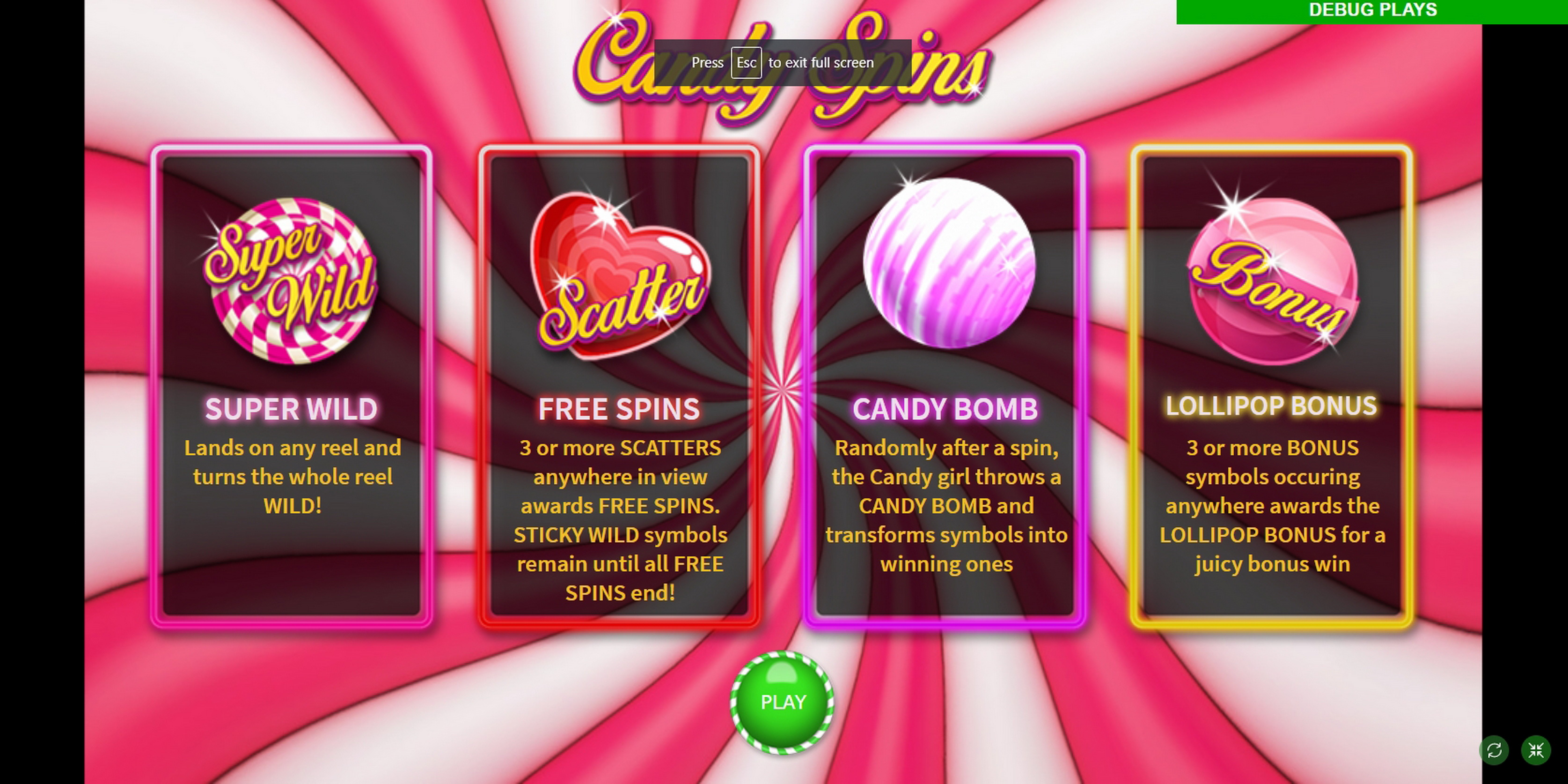 Play Candy Spins Free Casino Slot Game by MetaGU