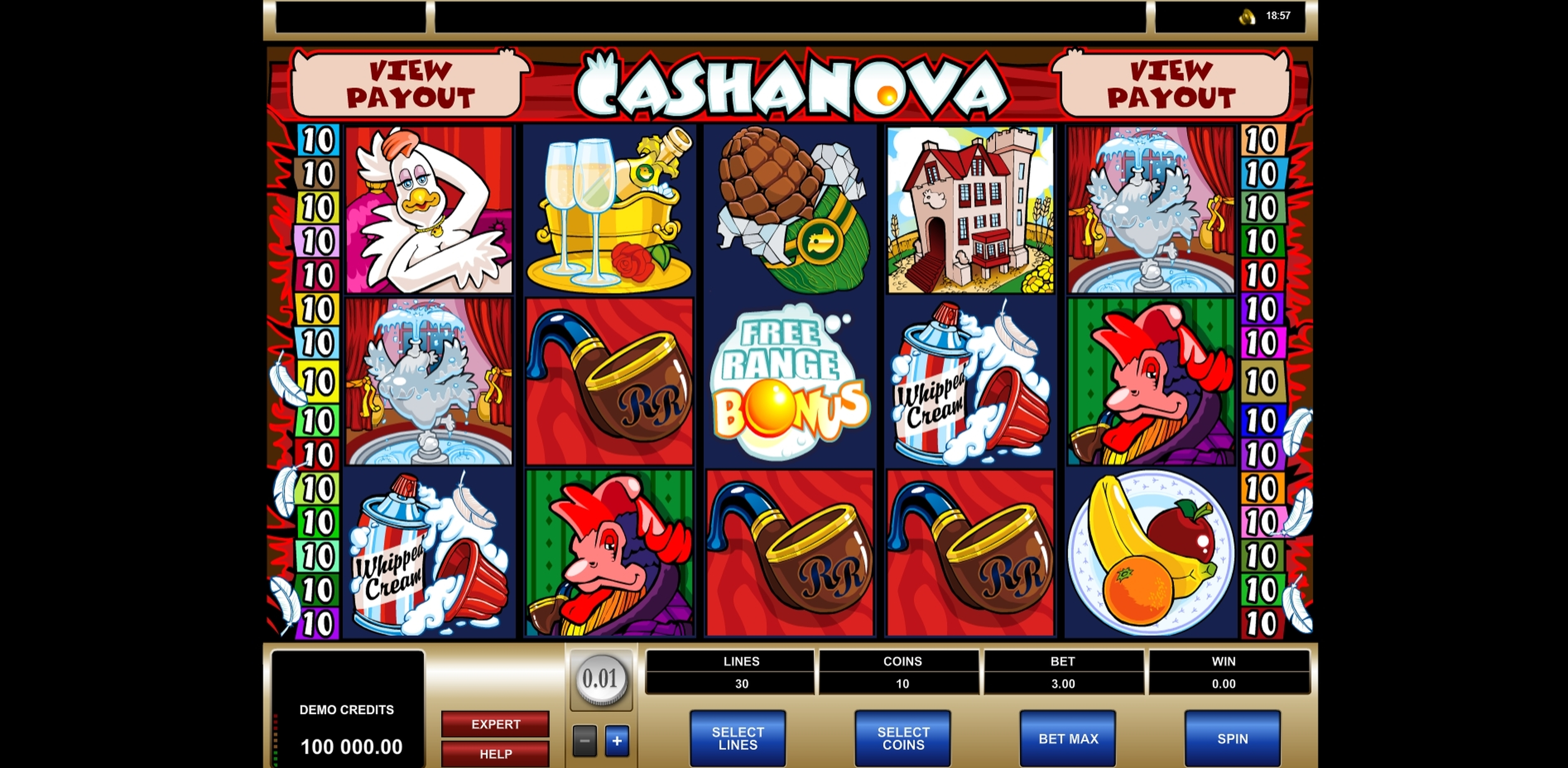 Reels in Cashanova Slot Game by Microgaming