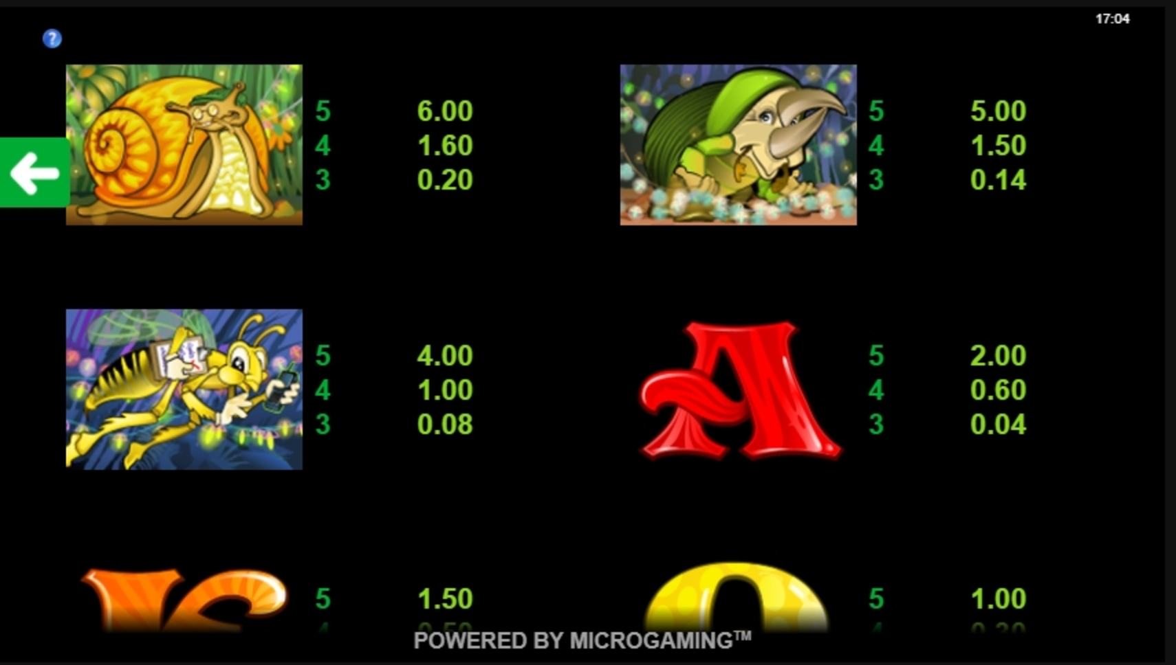 Info of Cashapillar Slot Game by Microgaming