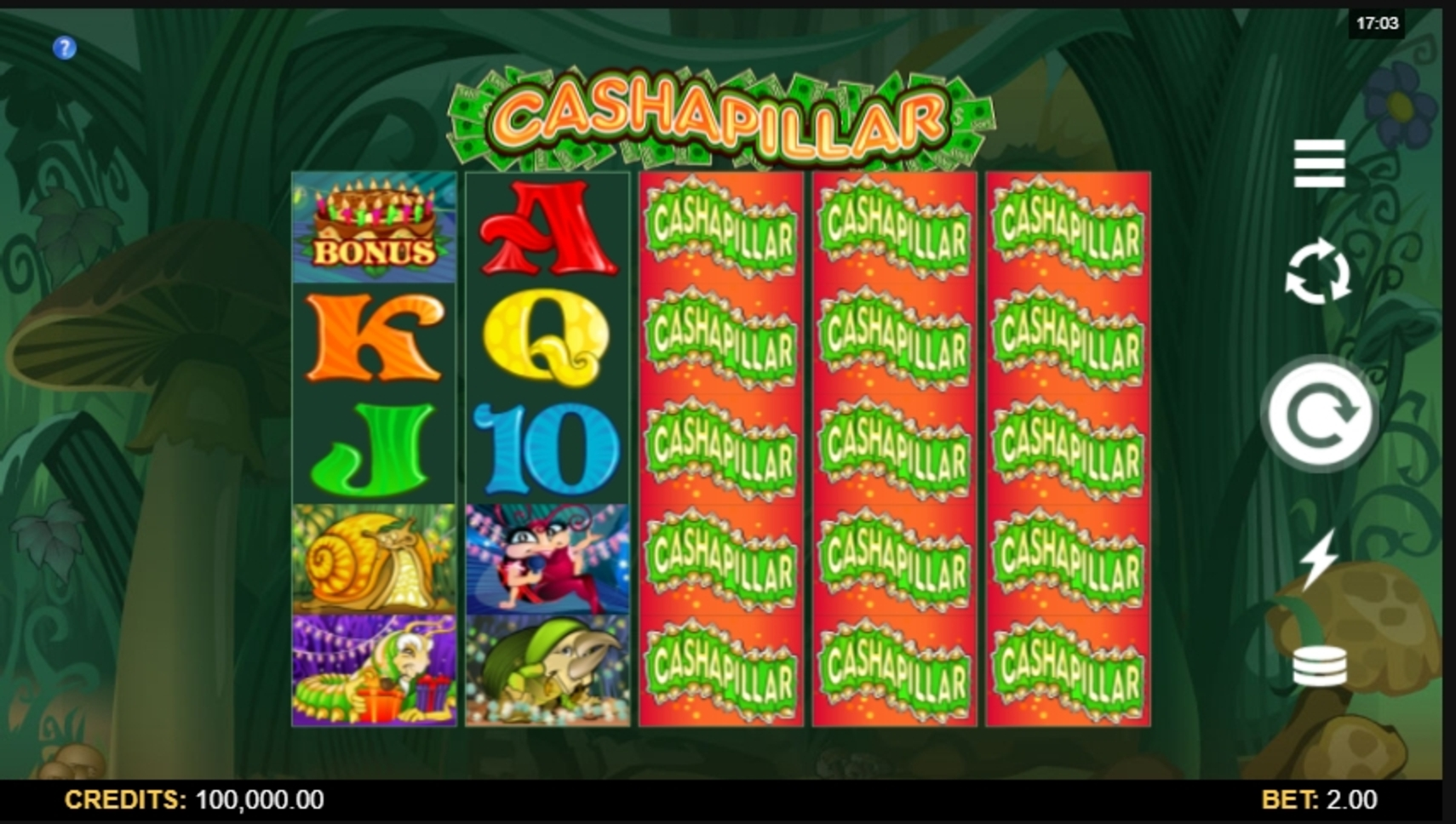 Reels in Cashapillar Slot Game by Microgaming