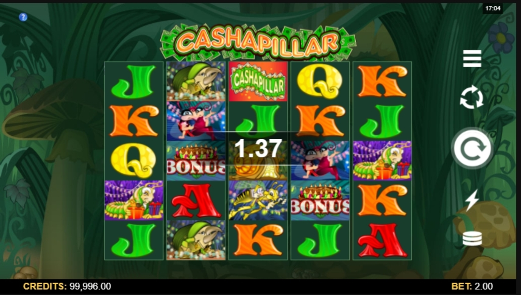 Win Money in Cashapillar Free Slot Game by Microgaming