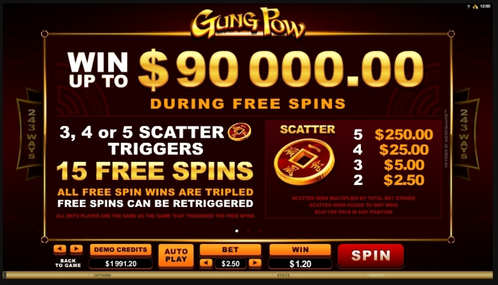 Info of Gung Pow Slot Game by Microgaming