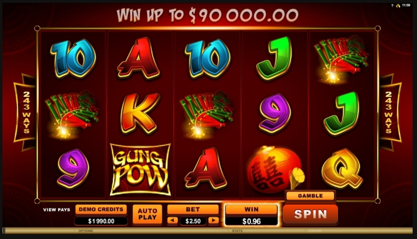 Win Money in Gung Pow Free Slot Game by Microgaming
