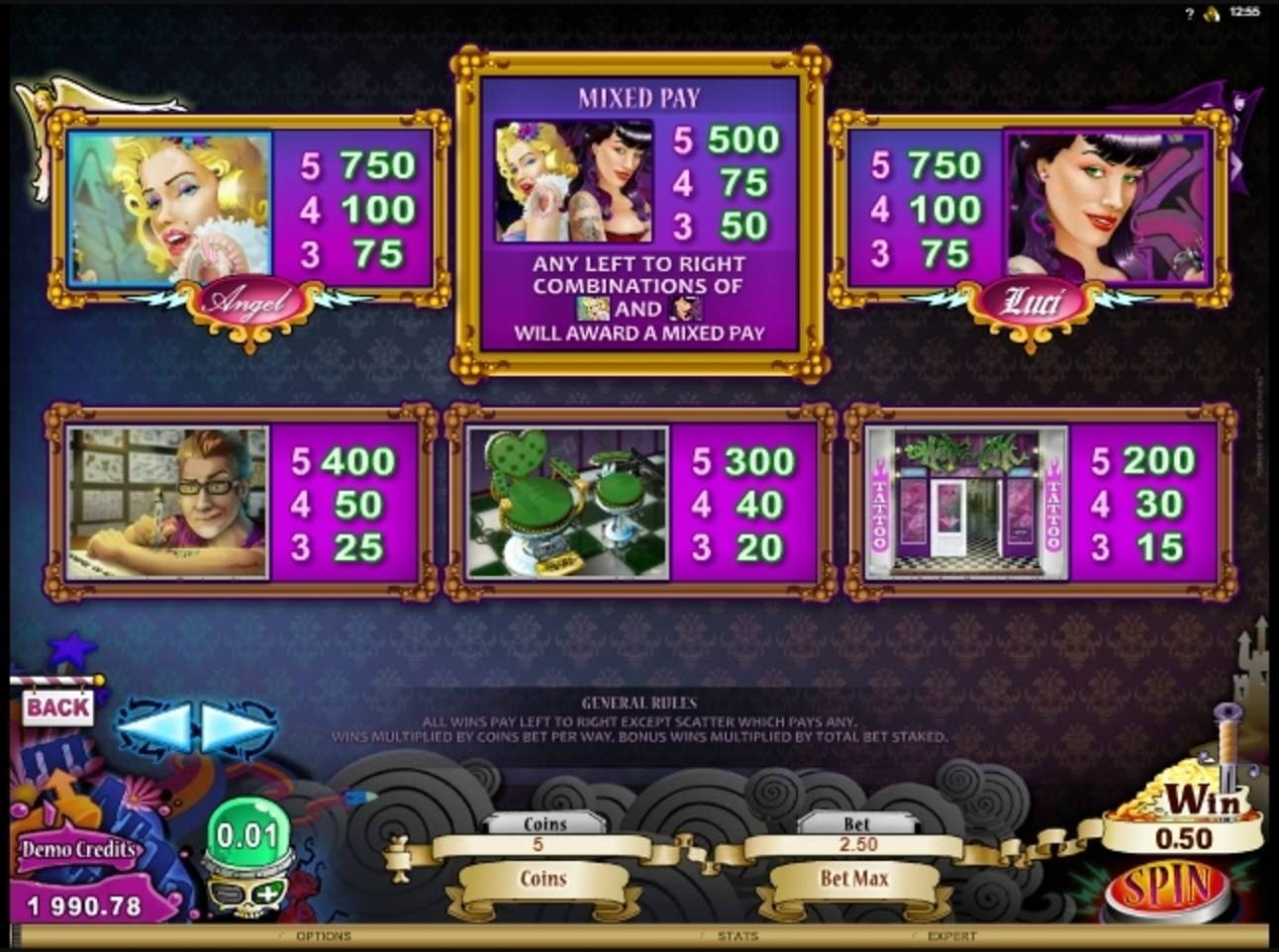 Info of Hot Ink Slot Game by Microgaming