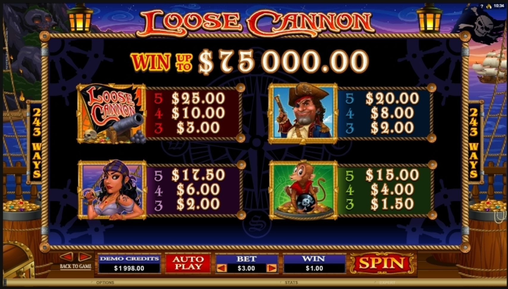Info of Loose Cannon Slot Game by Microgaming