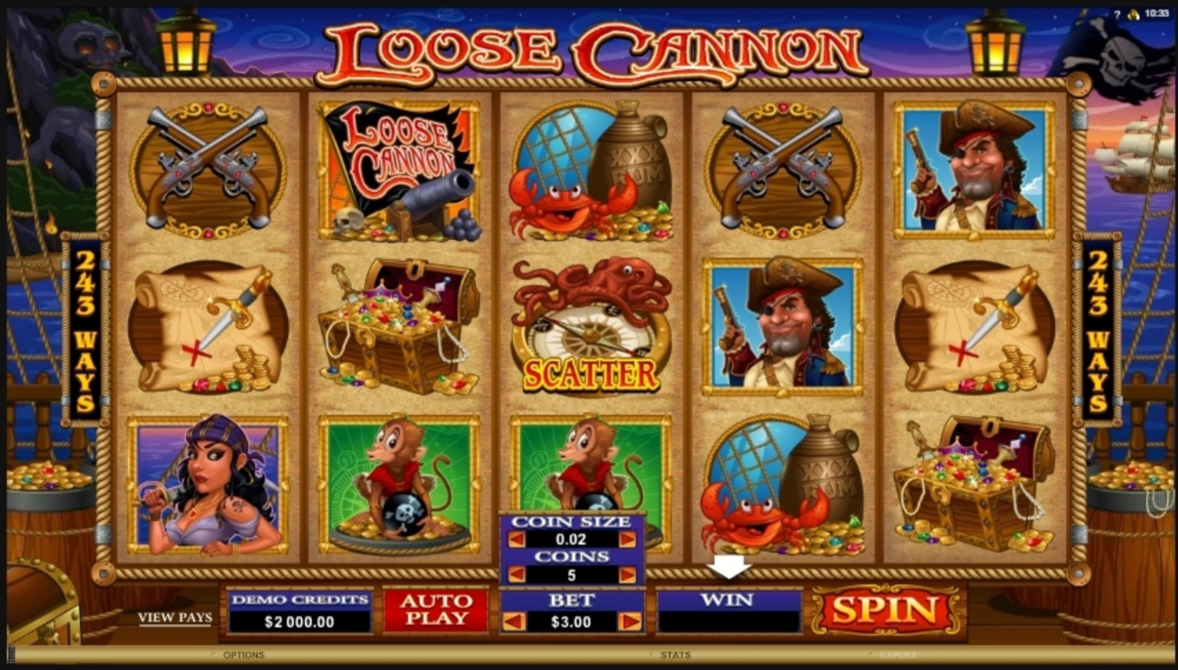 Reels in Loose Cannon Slot Game by Microgaming