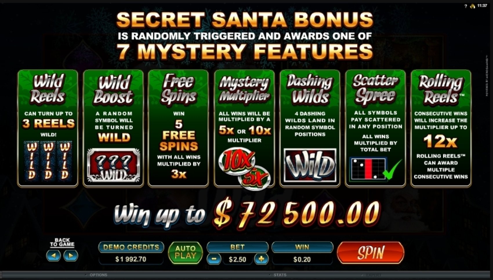 Info of Secret Santa Slot Game by Microgaming