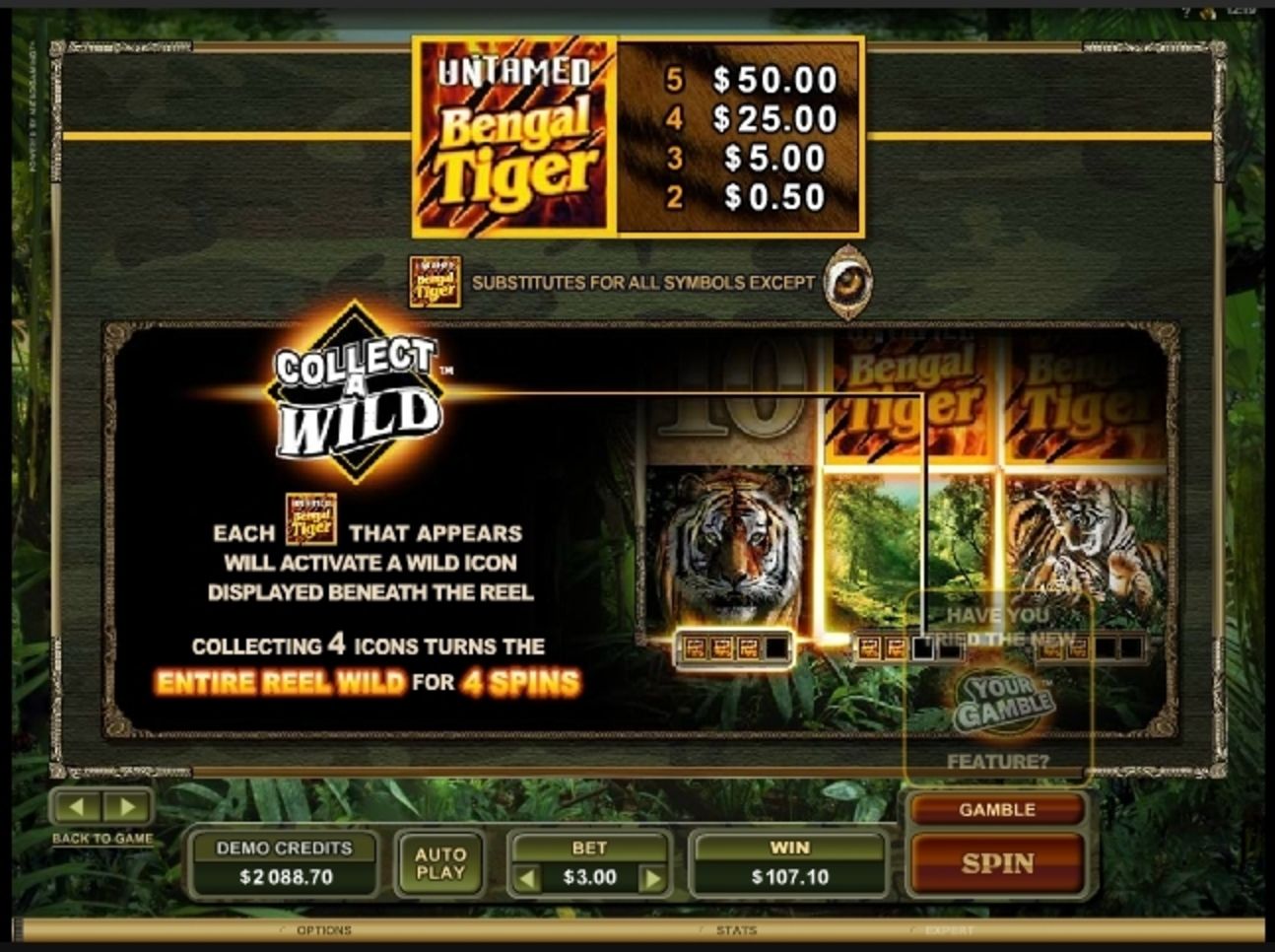 Info of Untamed Bengal Tiger Slot Game by Microgaming