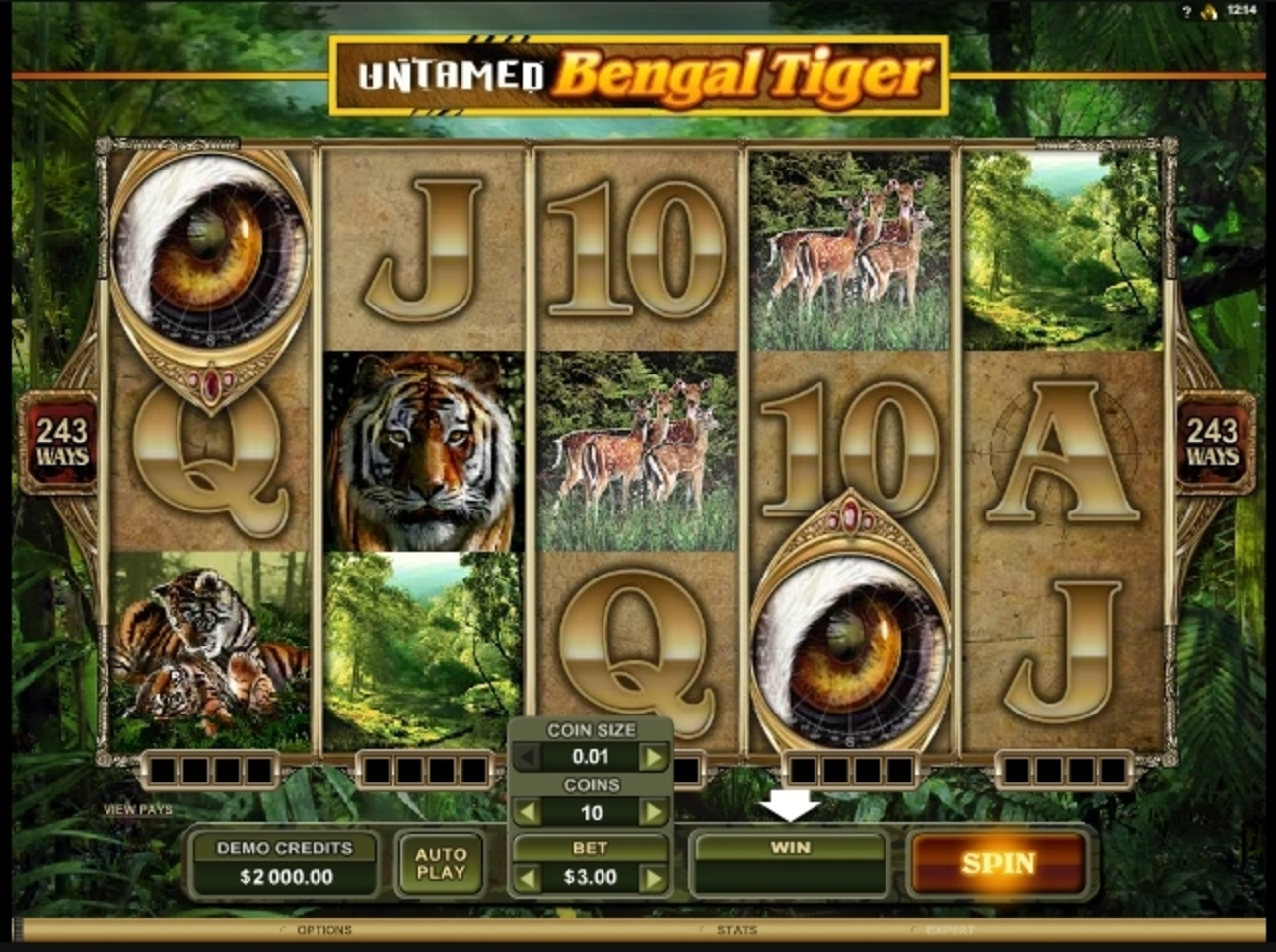 Reels in Untamed Bengal Tiger Slot Game by Microgaming