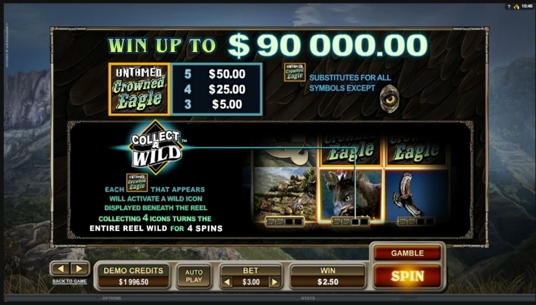 Info of Untamed Crowned Eagle Slot Game by Microgaming