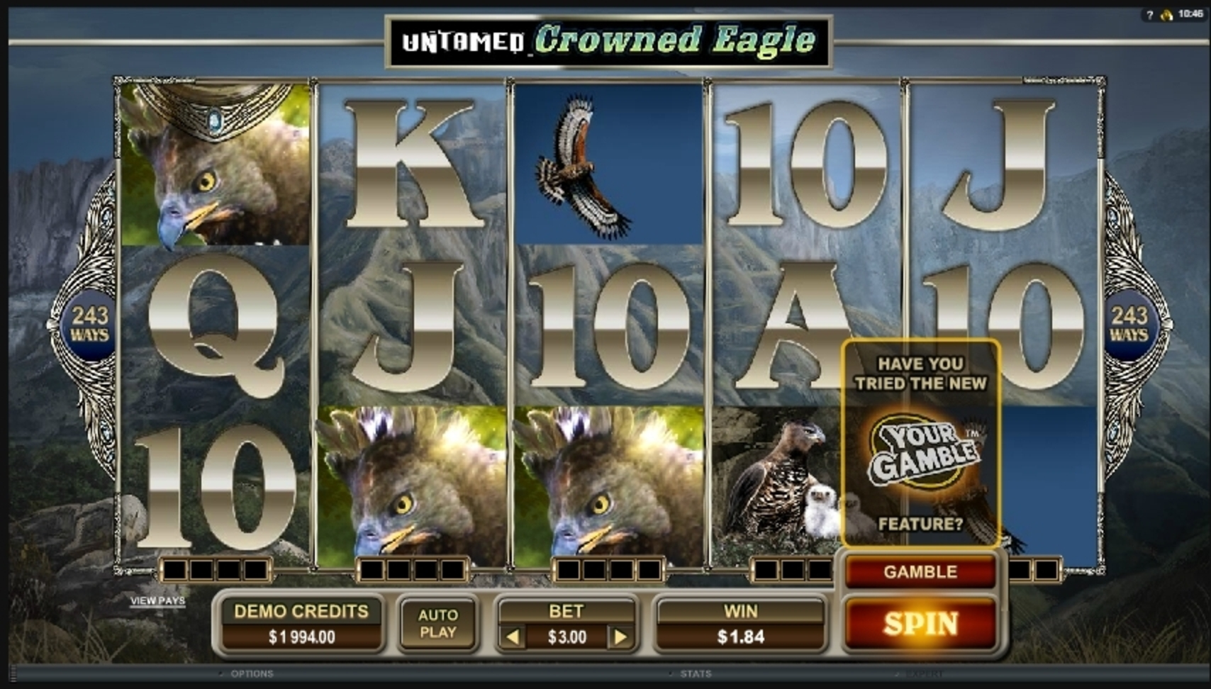 Win Money in Untamed Crowned Eagle Free Slot Game by Microgaming