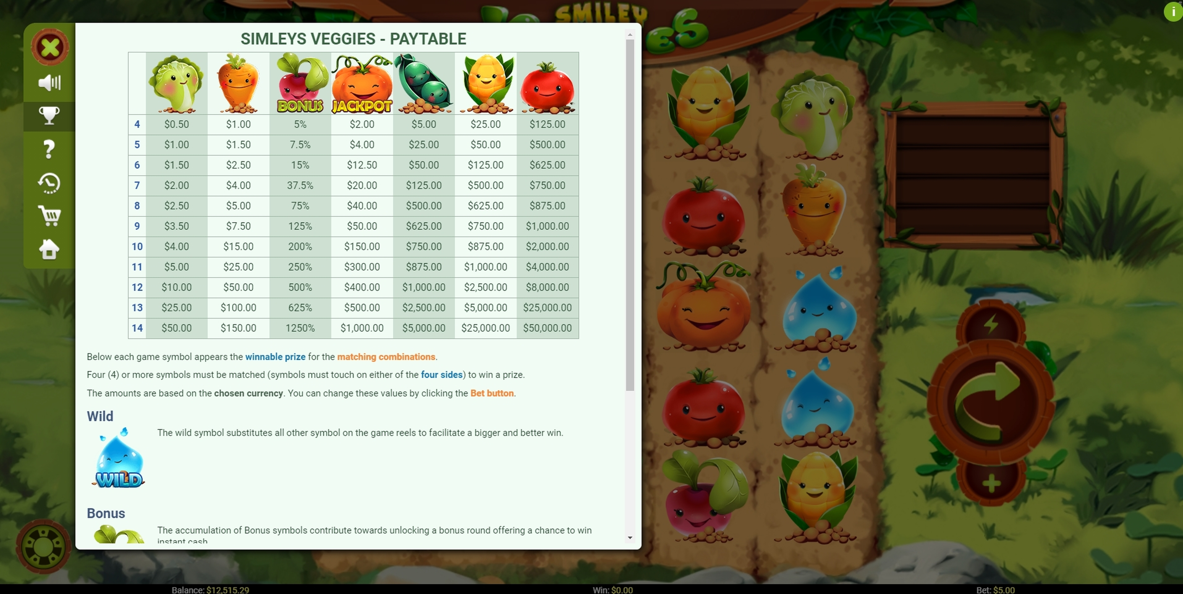 Info of Smiley Veggies Slot Game by Mobilots