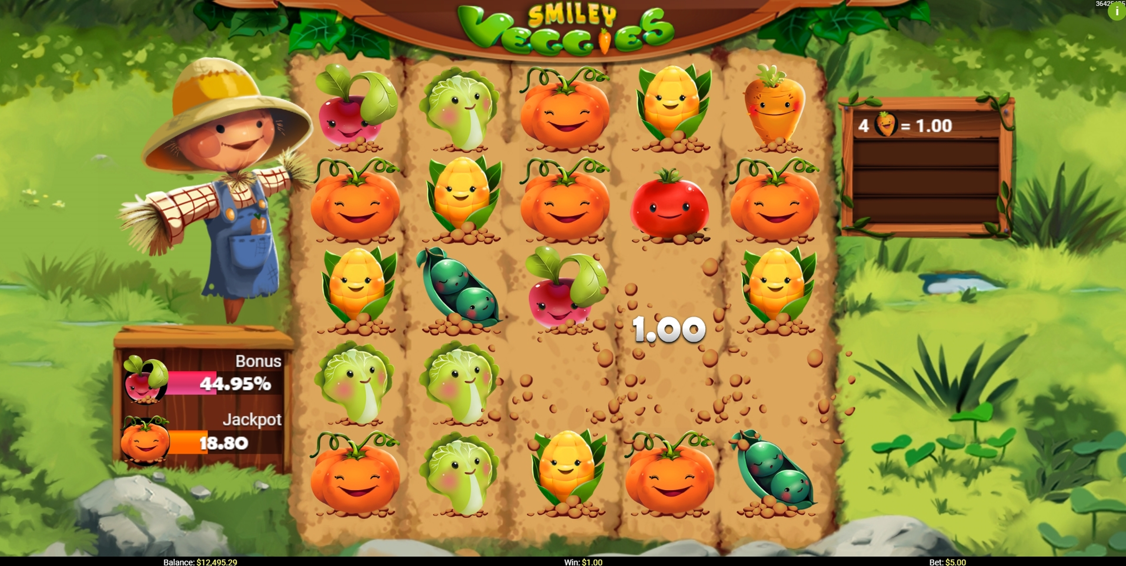 Win Money in Smiley Veggies Free Slot Game by Mobilots