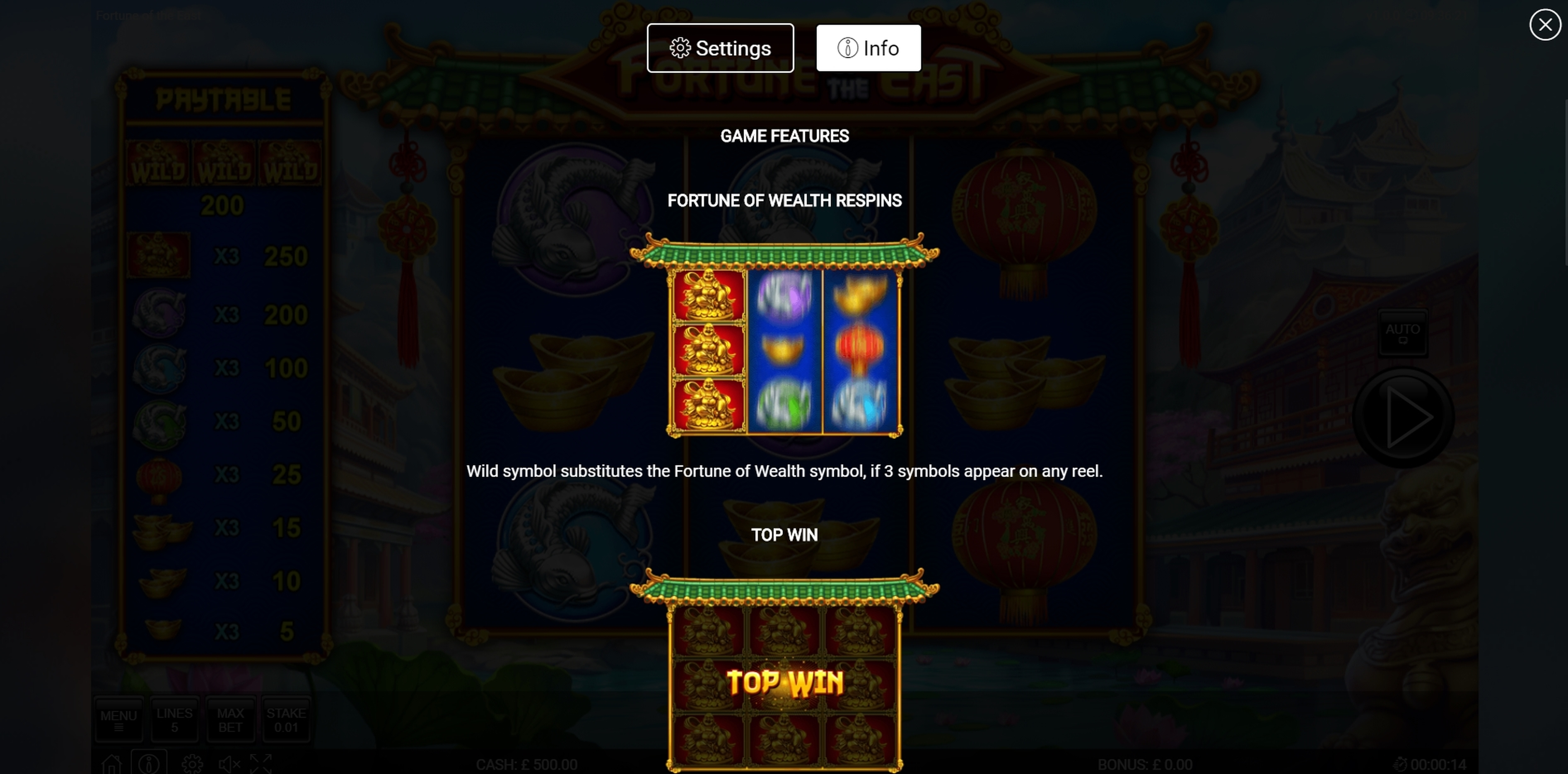 Info of Fortune of the East Slot Game by Nektan