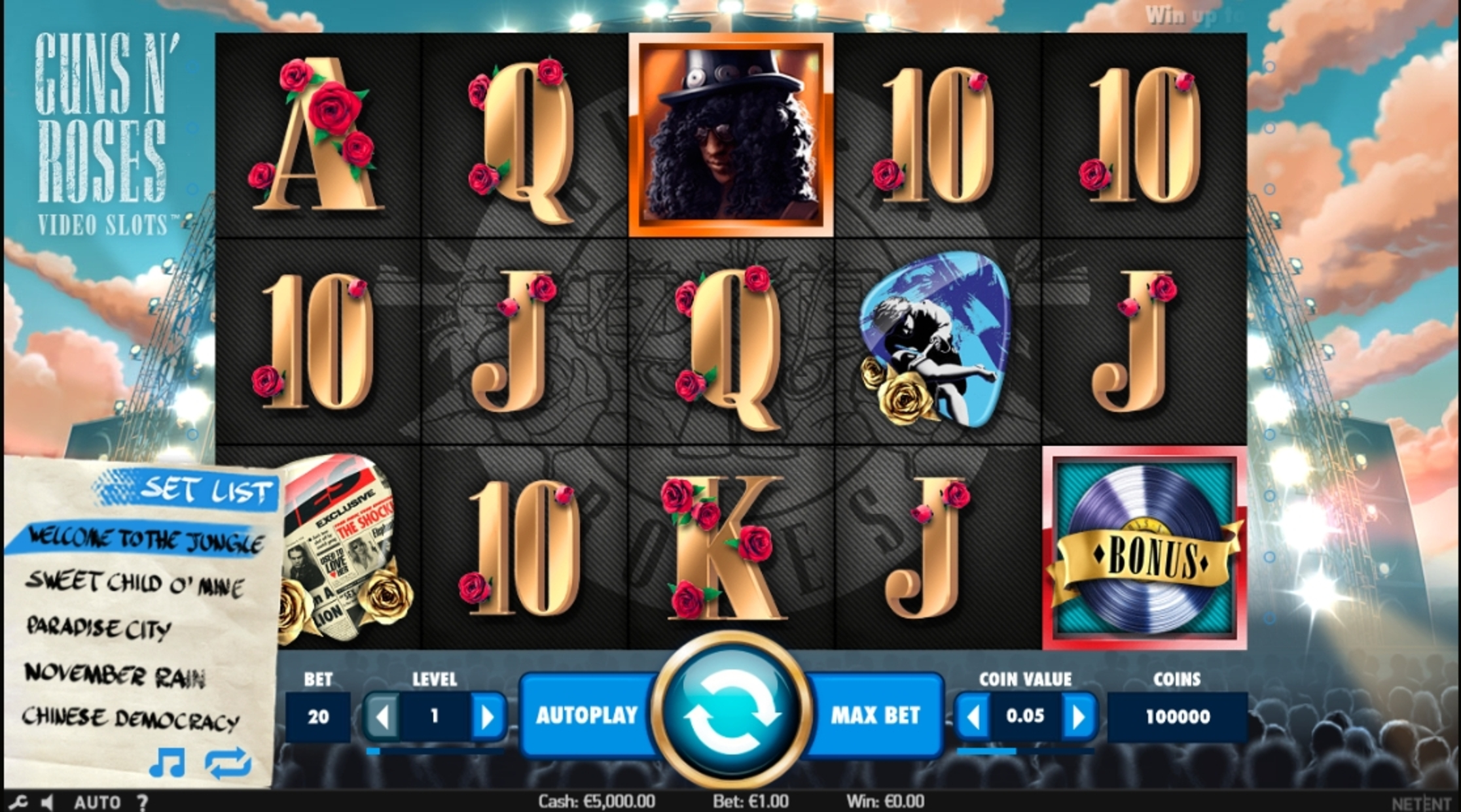Reels in Guns N' Roses Slot Game by NetEnt
