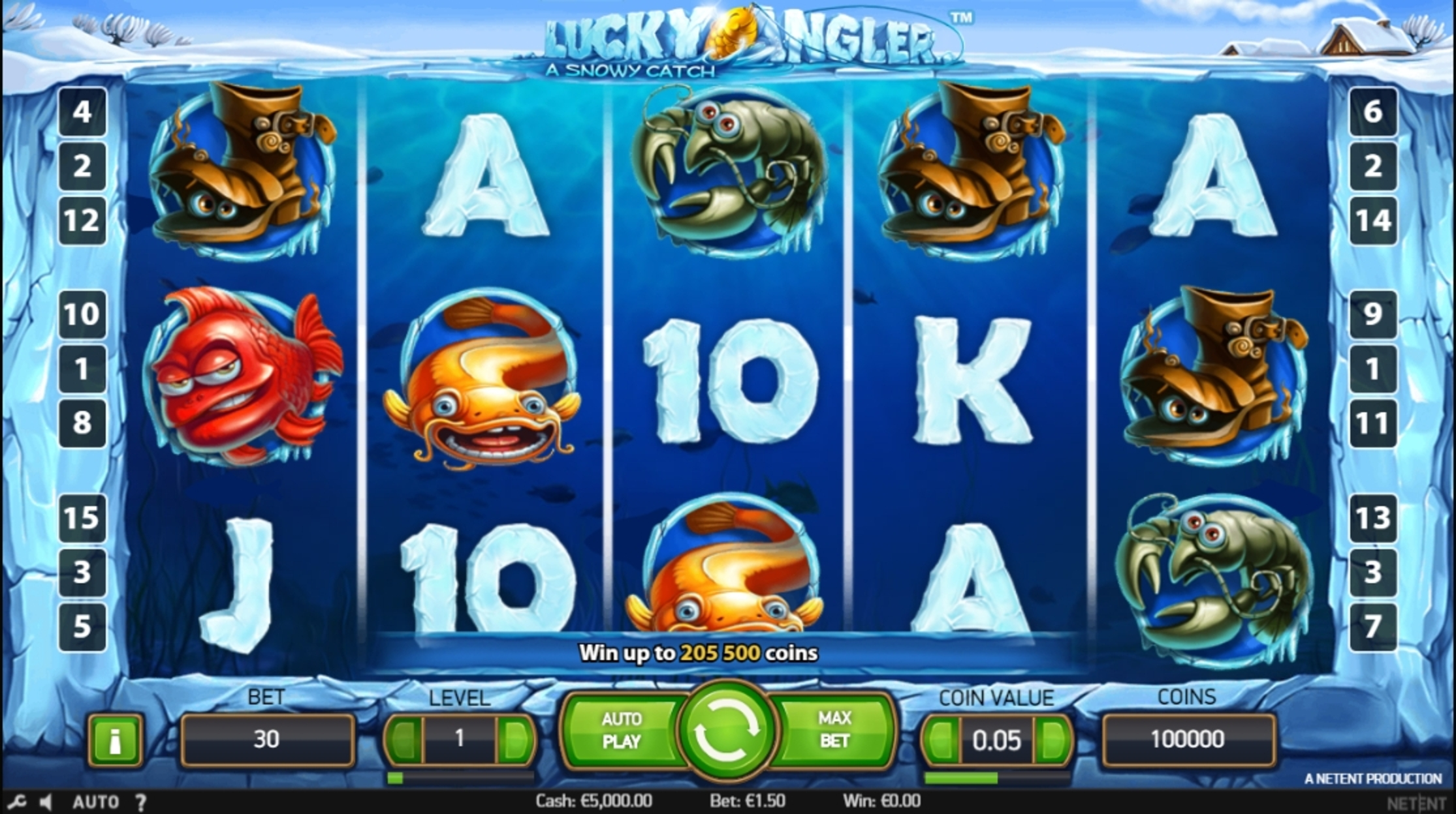 Reels in Lucky Angler Slot Game by NetEnt