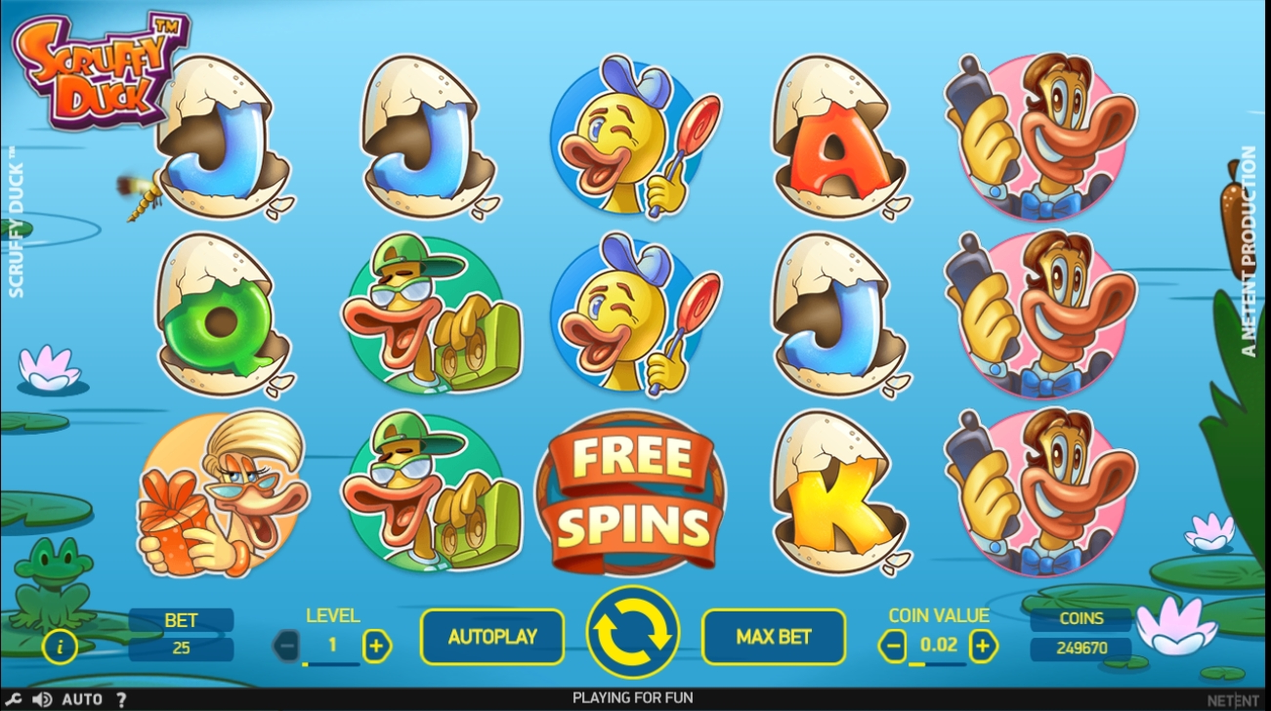 Reels in Scruffy Duck Slot Game by NetEnt