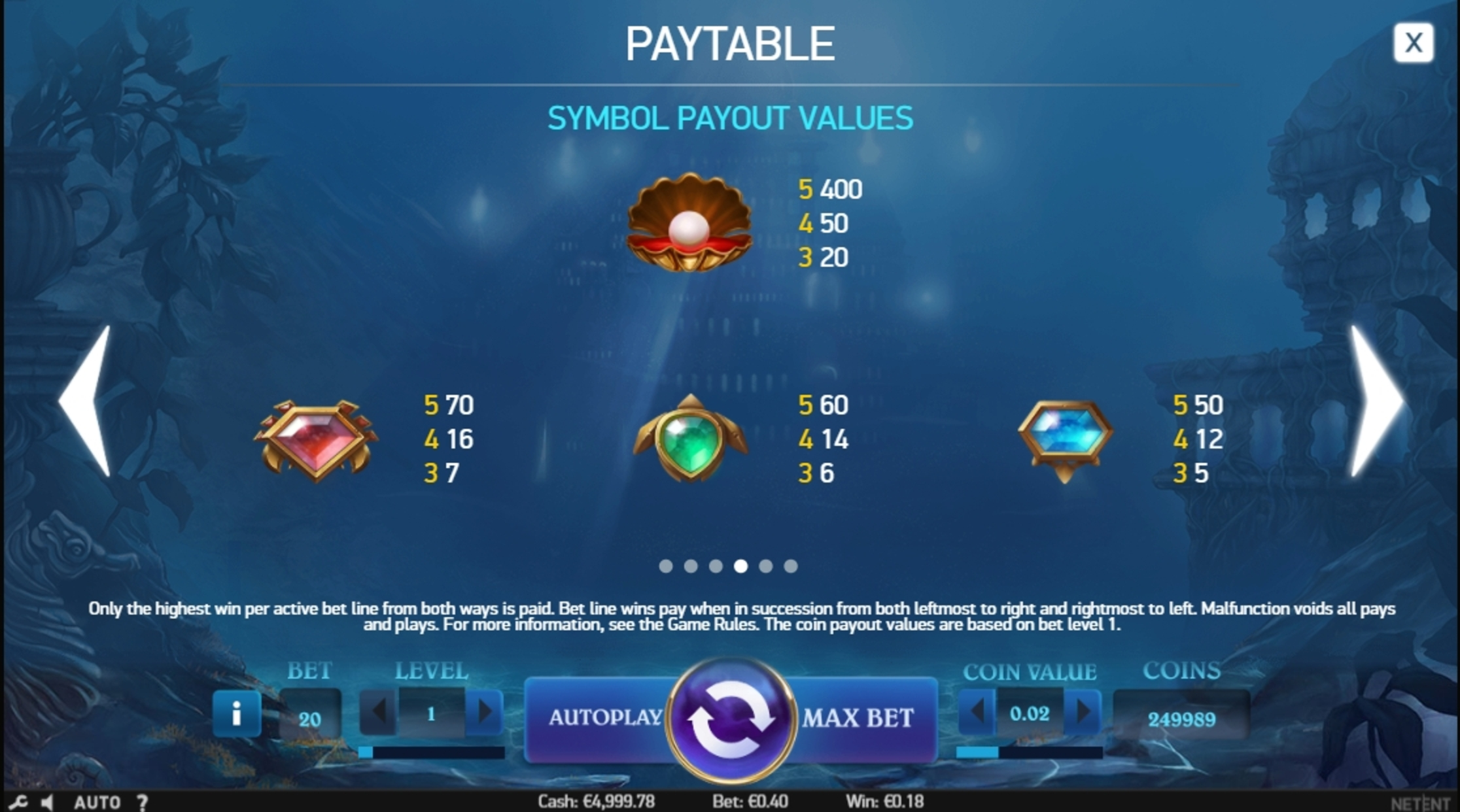 Info of Secrets of Atlantis Slot Game by NetEnt