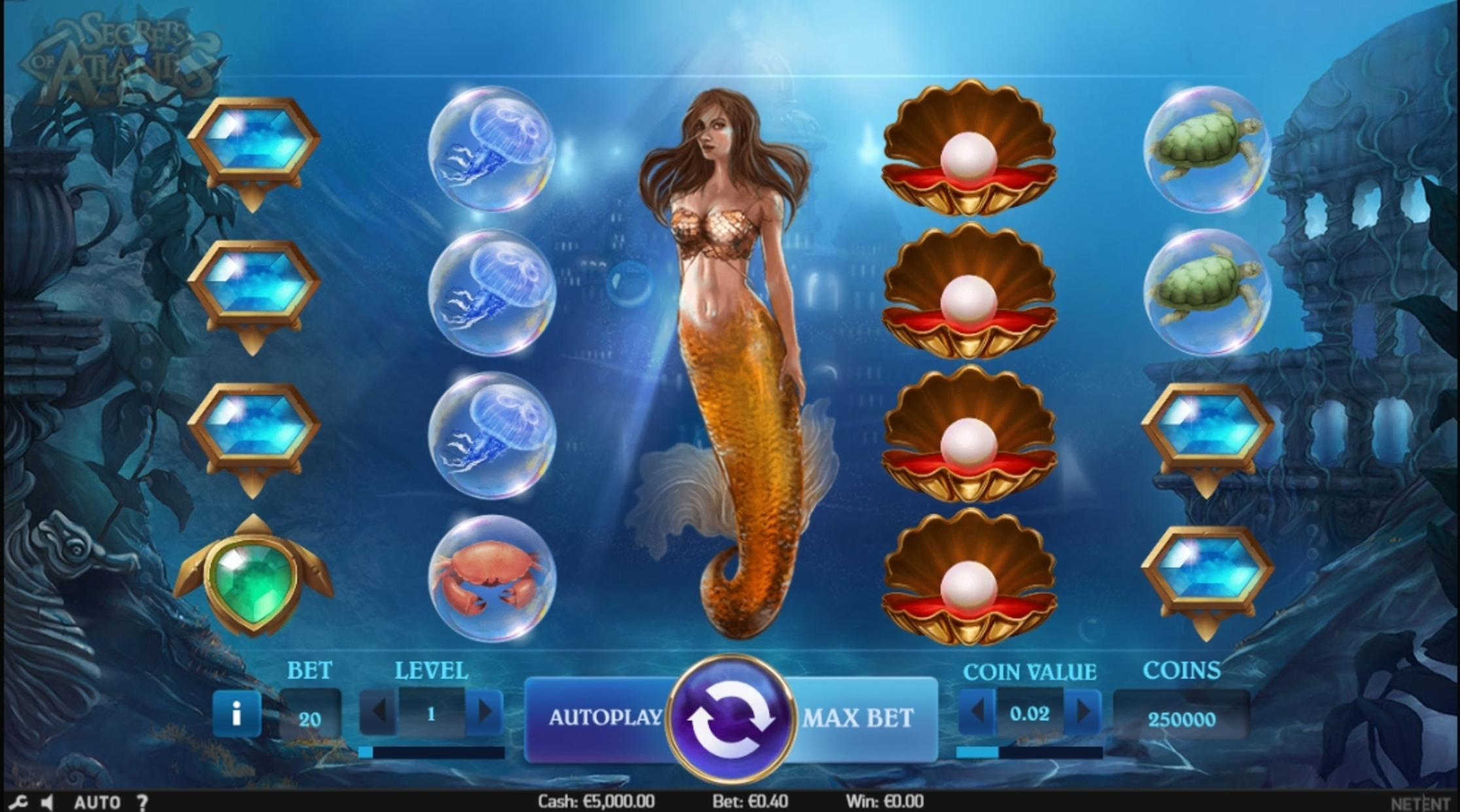 Reels in Secrets of Atlantis Slot Game by NetEnt