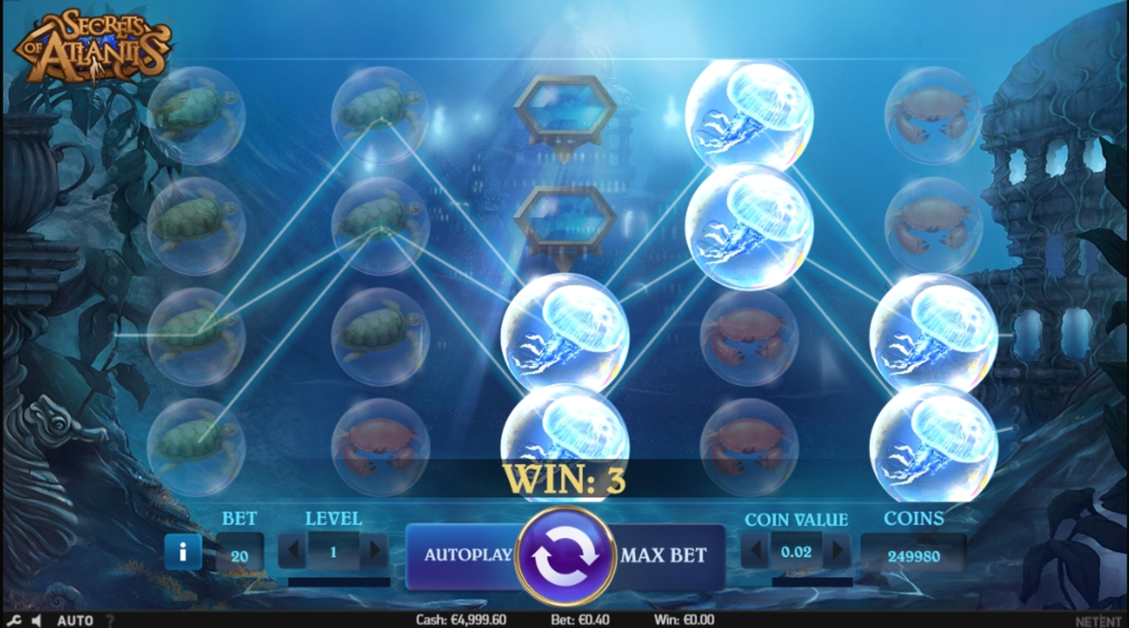 Win Money in Secrets of Atlantis Free Slot Game by NetEnt
