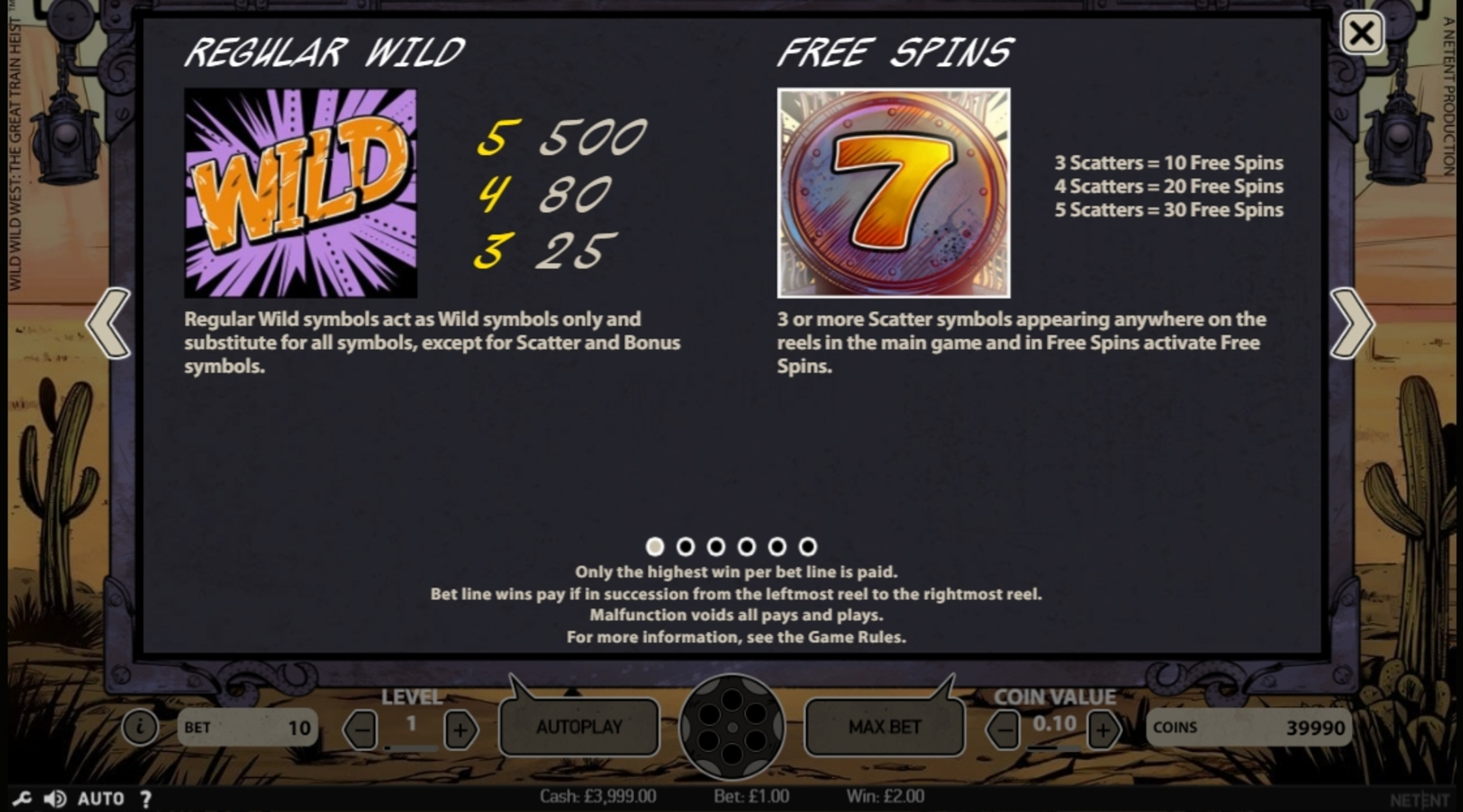 Info of Wild Wild West Slot Game by NetEnt