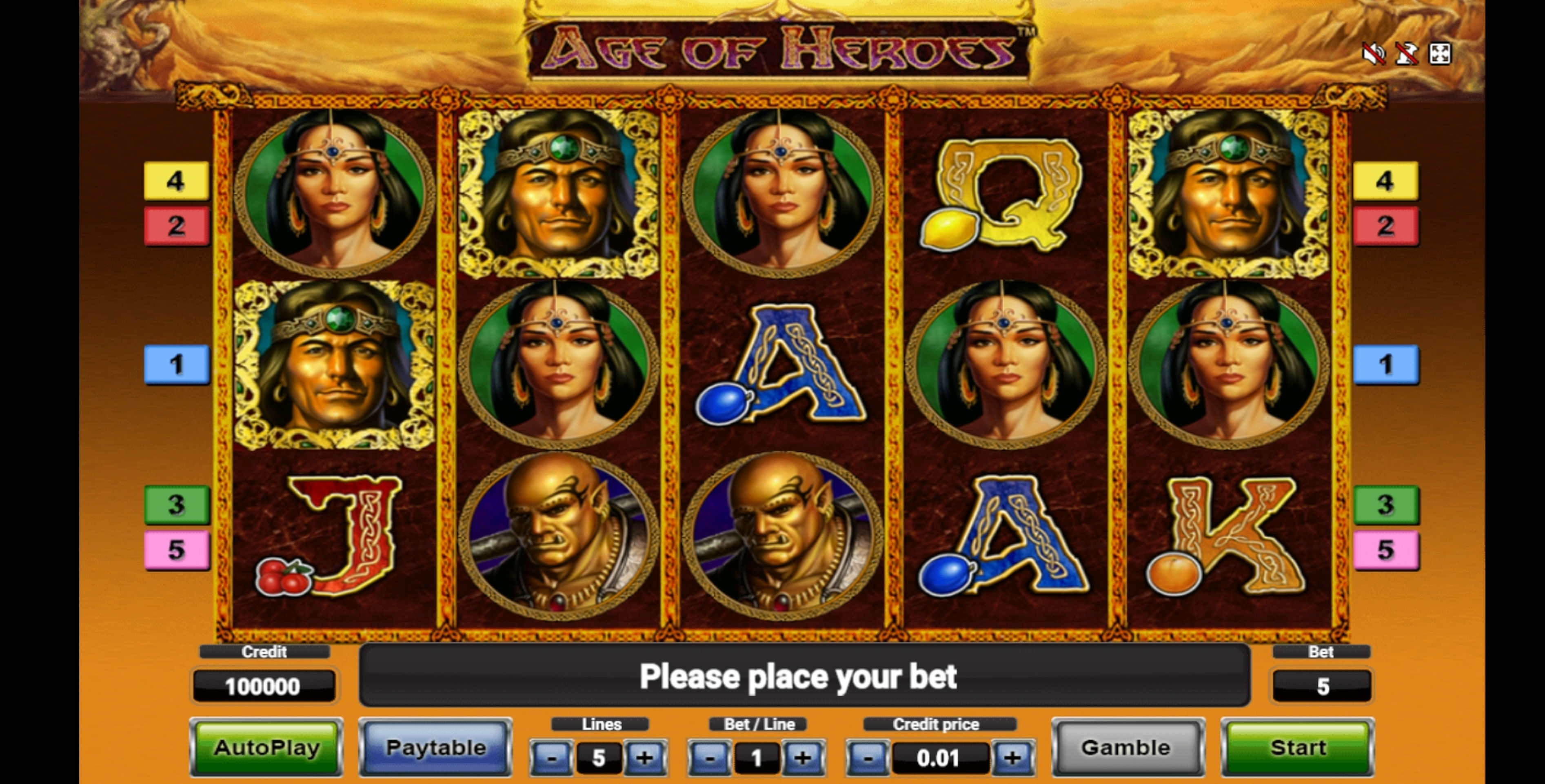 Reels in Age Of Heroes Deluxe Slot Game by Novomatic