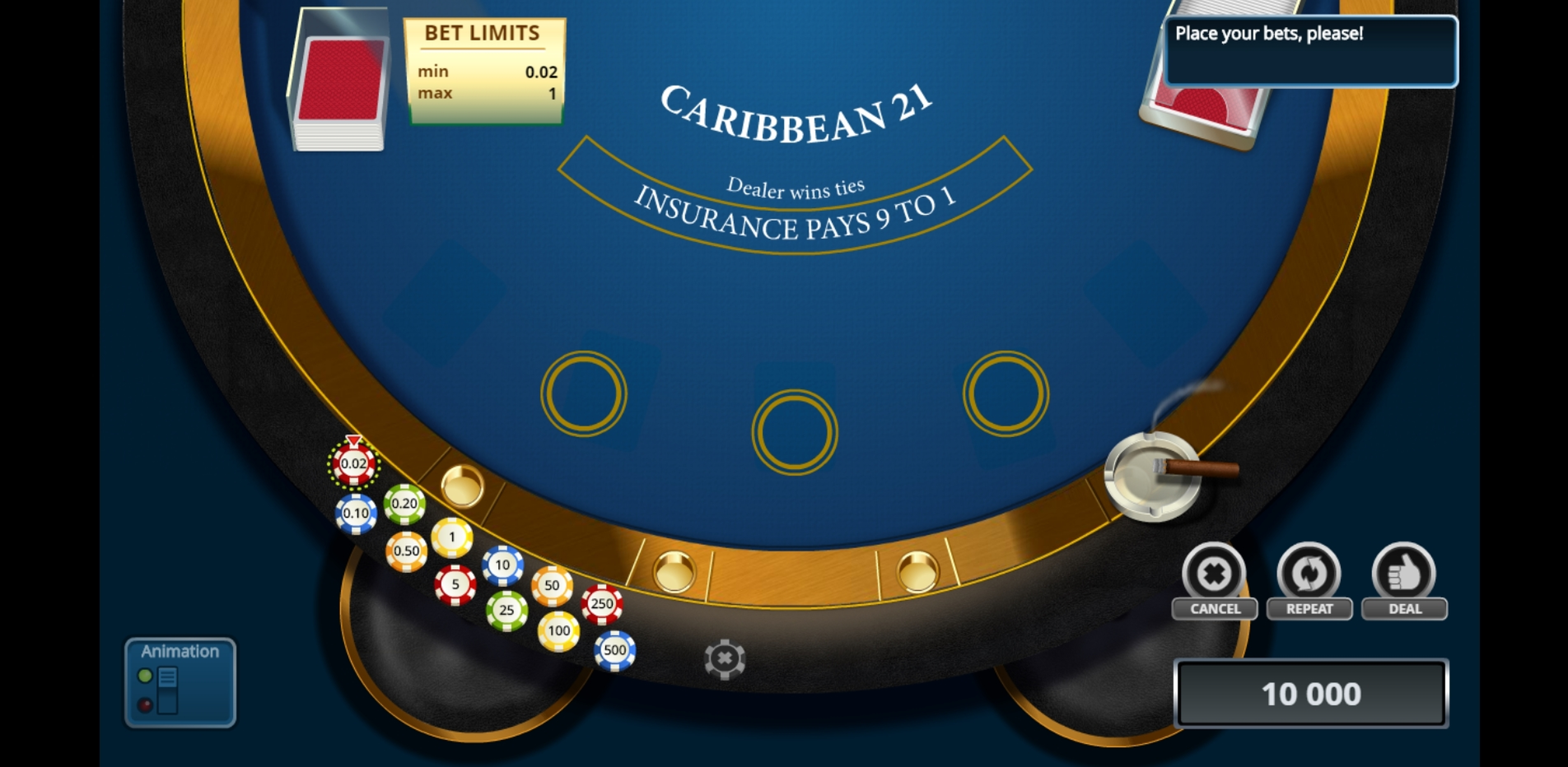 Reels in Caribbean Blackjack (Novomatic) Slot Game by Novomatic