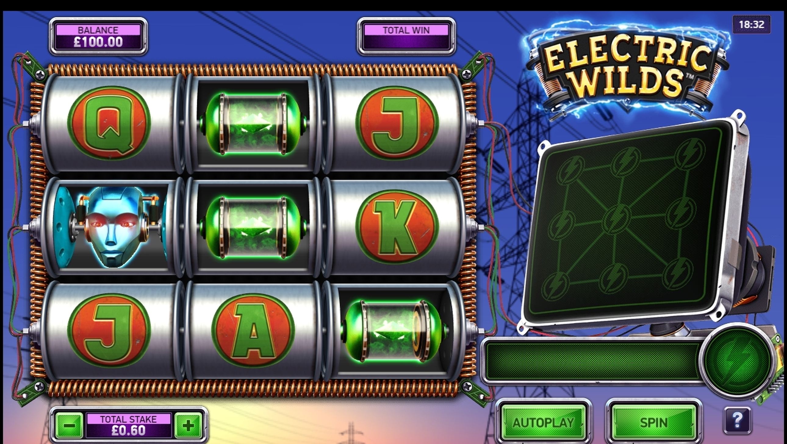 Reels in Electric Wilds Slot Game by Northern Lights Gaming