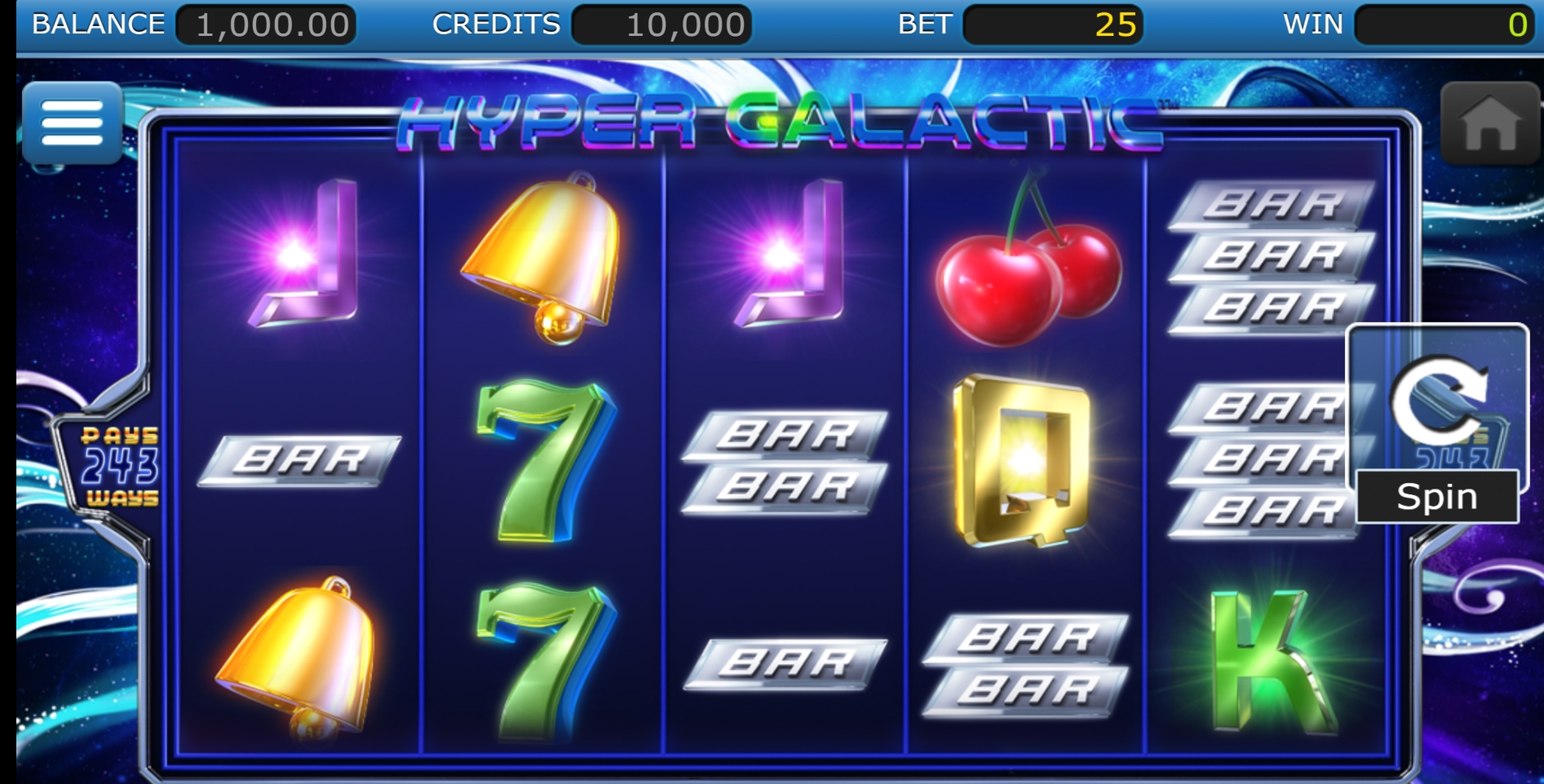 Reels in Hyper Galactic Slot Game by Nucleus Gaming
