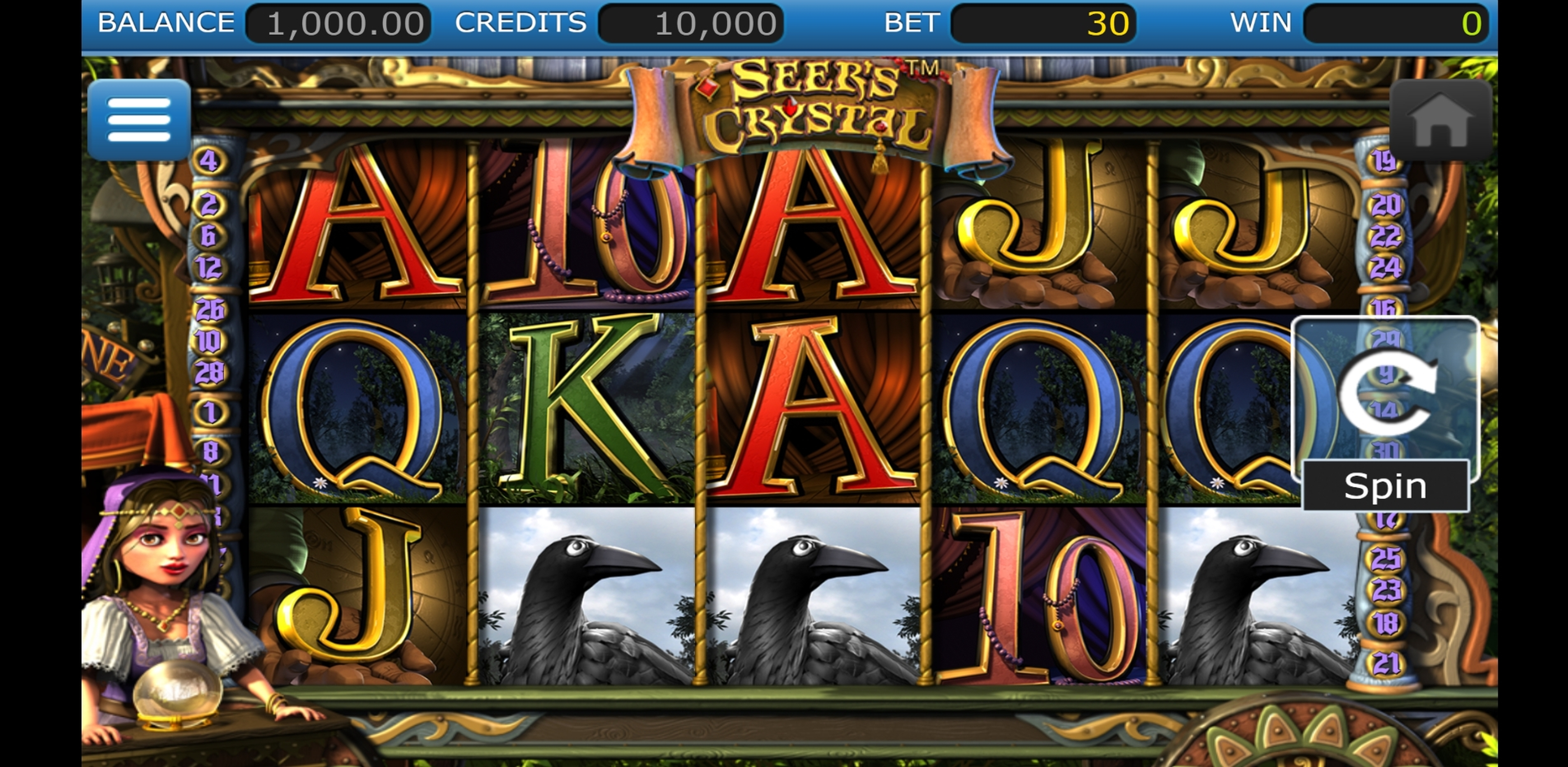 Reels in Seer's Crystal Slot Game by Nucleus Gaming