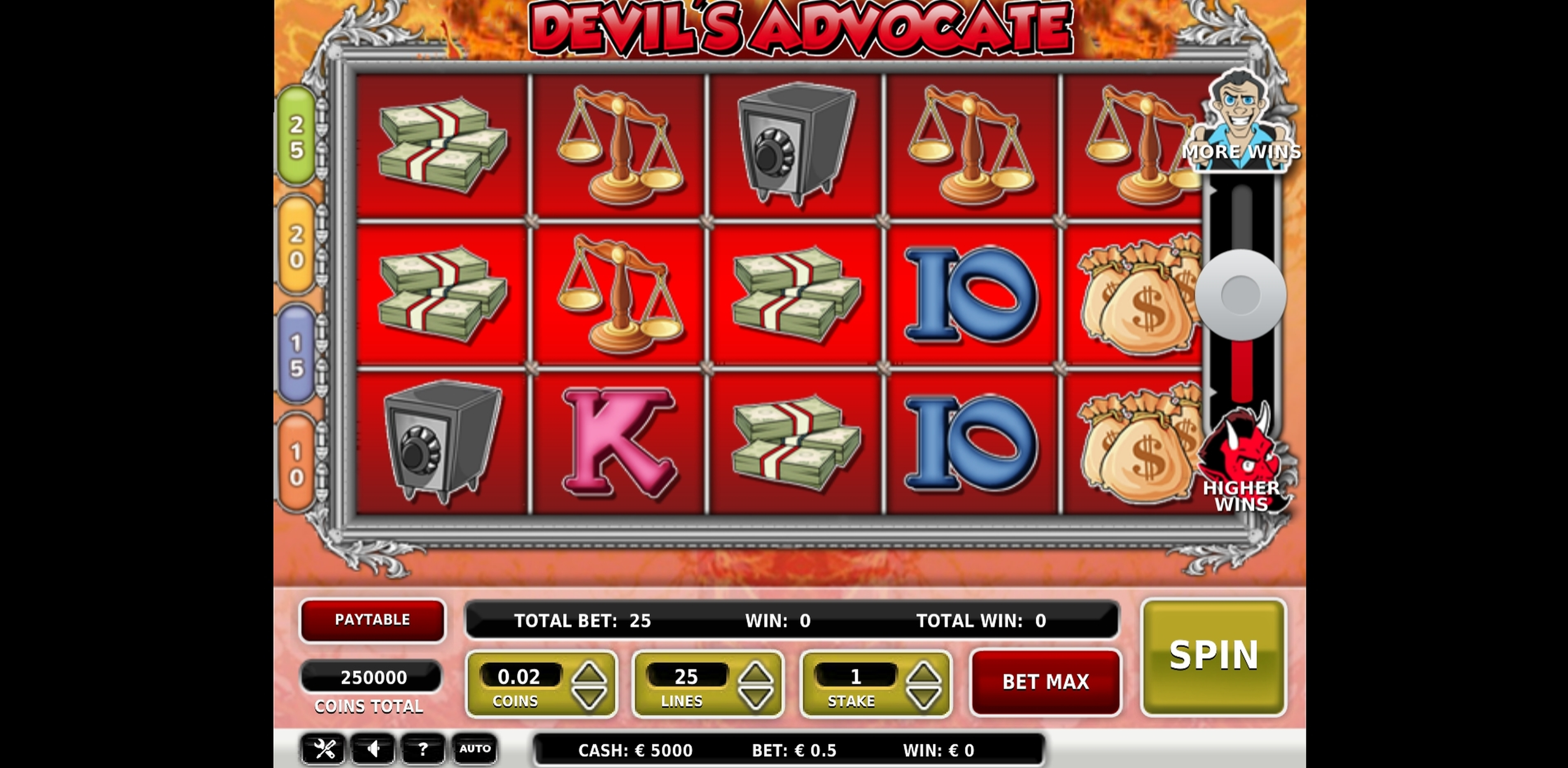 Reels in Devil's Advocate Slot Game by OMI Gaming
