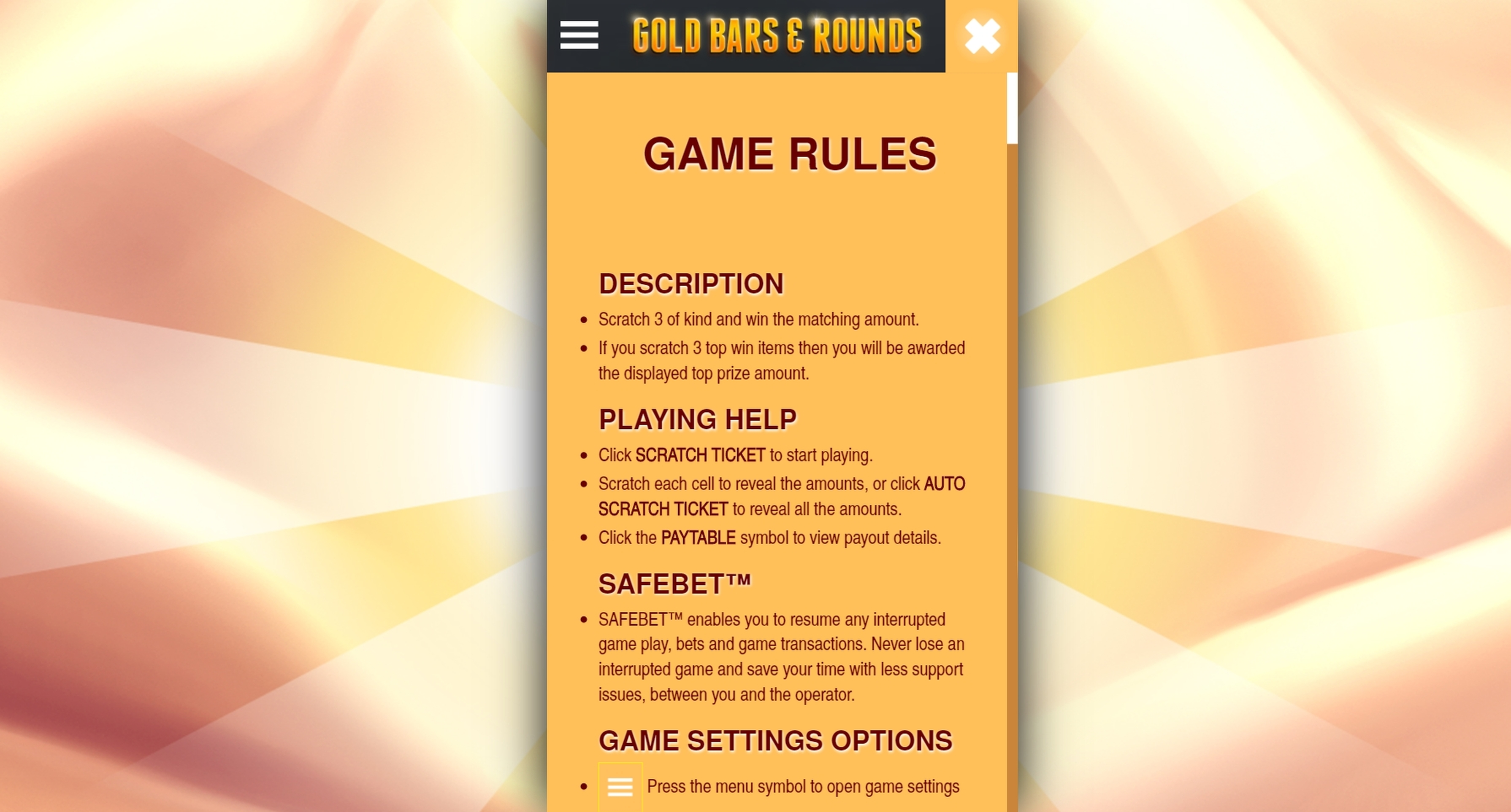 Info of Gold Bars & Rounds Slot Game by OMI Gaming