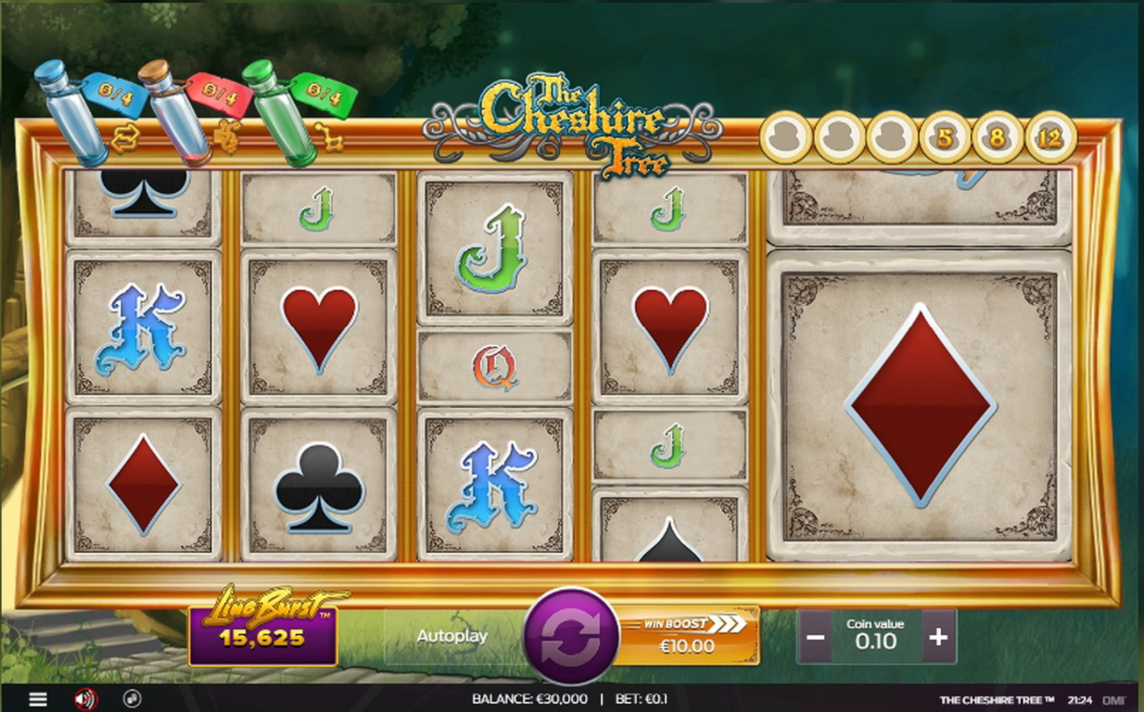 Reels in The Cheshire Tree Slot Game by OMI Gaming