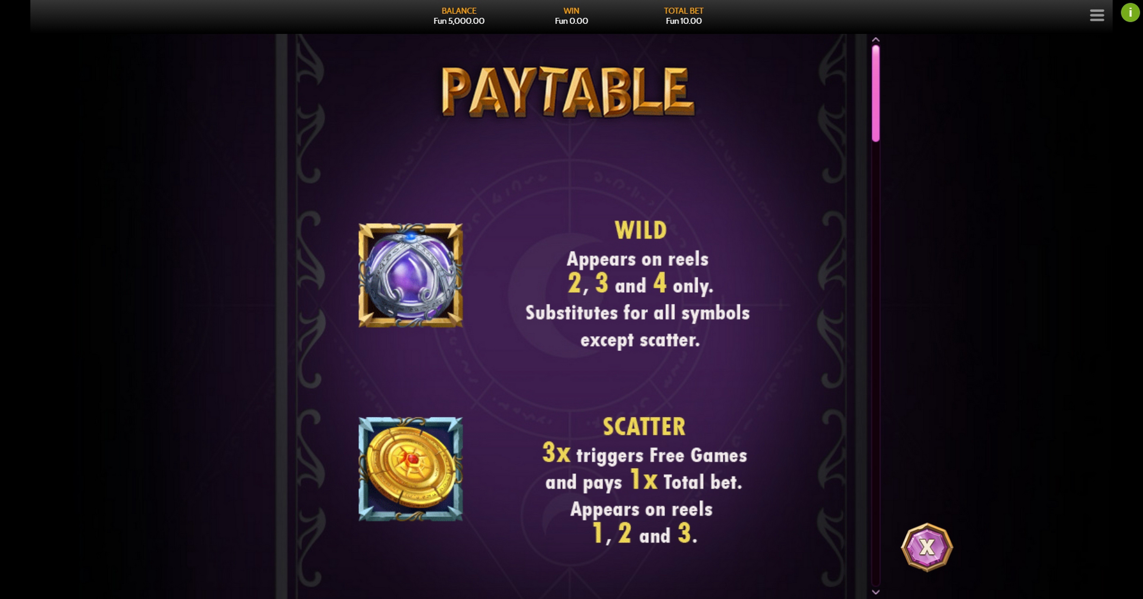 Info of Wild Sorcery Slot Game by OneTouch Games